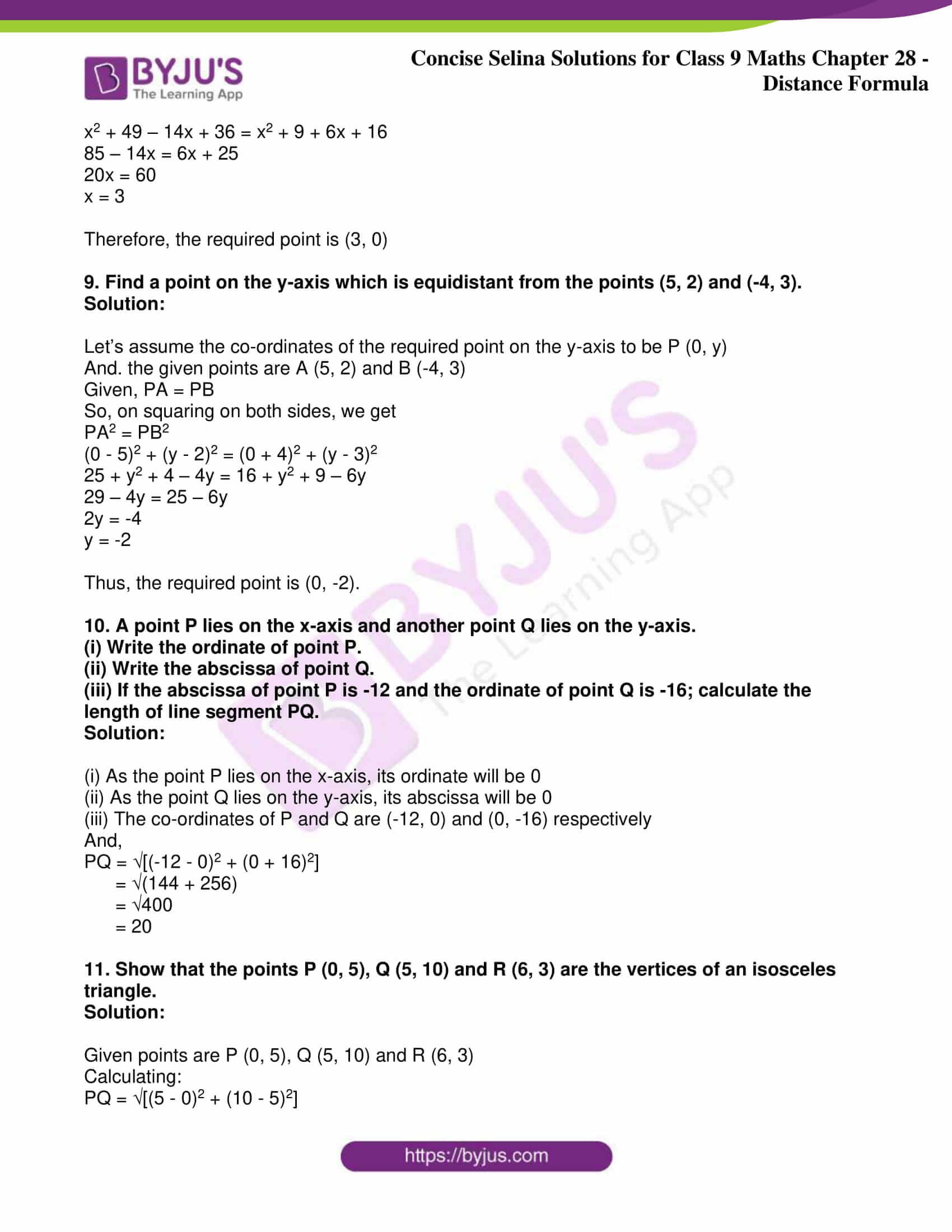 icse class 9 maths may10 selina solutions chapter 28 distance formula 05