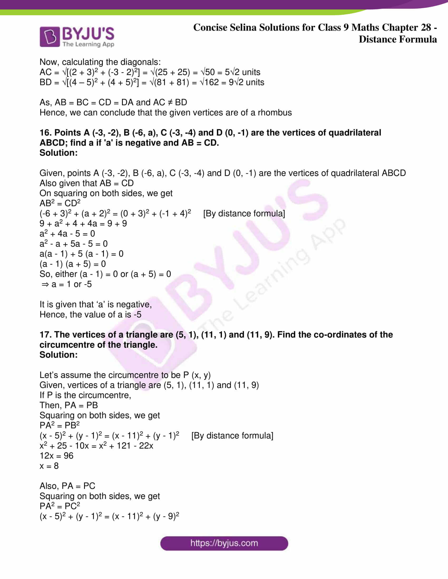 icse class 9 maths may10 selina solutions chapter 28 distance formula 08