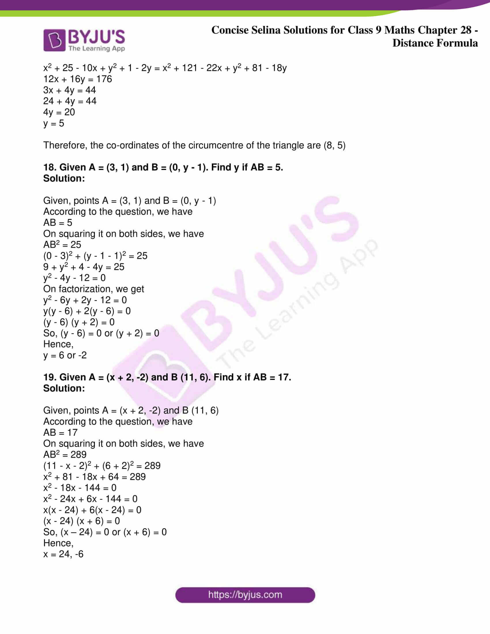 icse class 9 maths may10 selina solutions chapter 28 distance formula 09