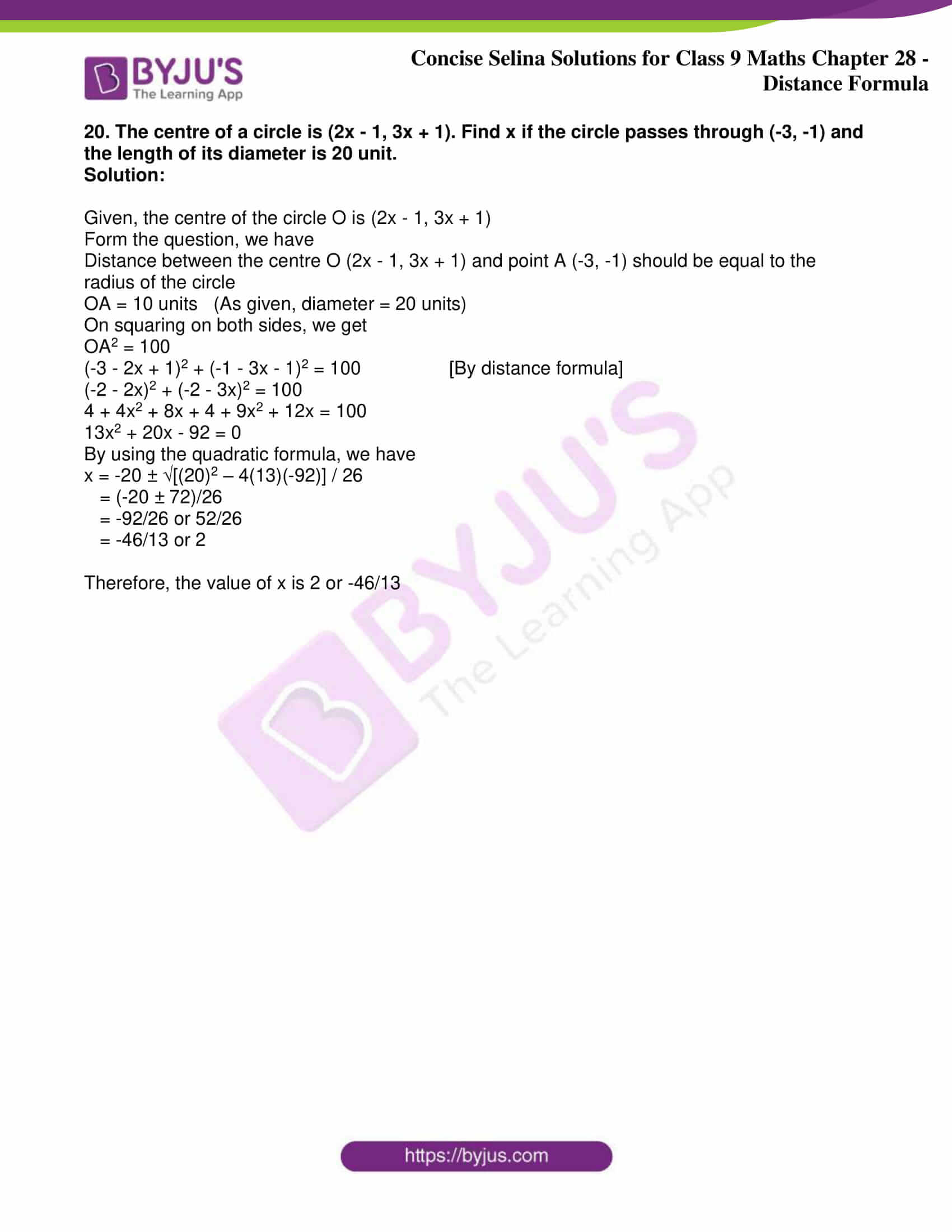 icse class 9 maths may10 selina solutions chapter 28 distance formula 10
