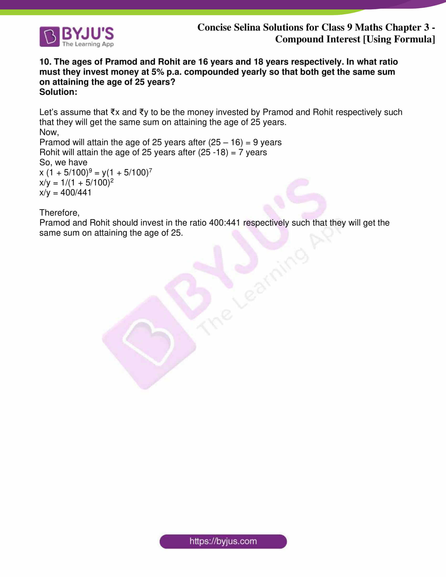 icse class 9 maths may10 selina solutions chapter 3 compound interest using formula 25