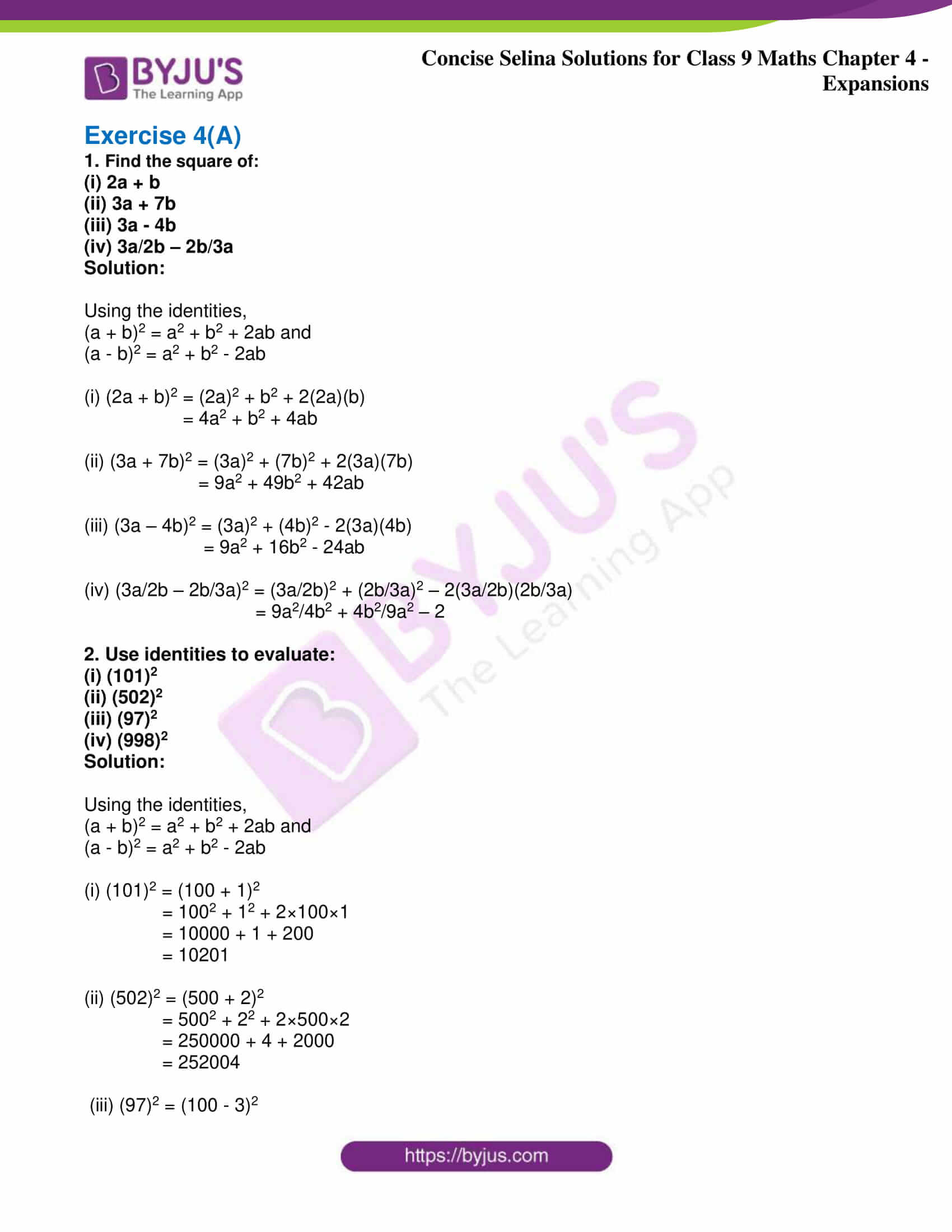 icse class 9 maths may10 selina solutions chapter 4 expansions 01