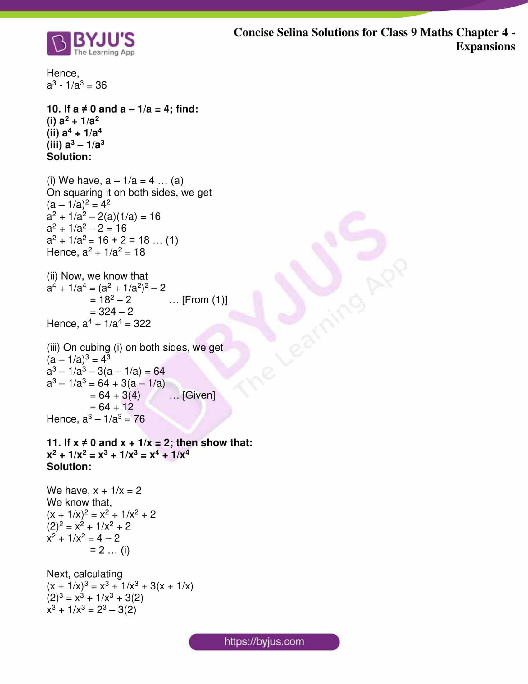 icse class 9 maths may10 selina solutions chapter 4 expansions 14