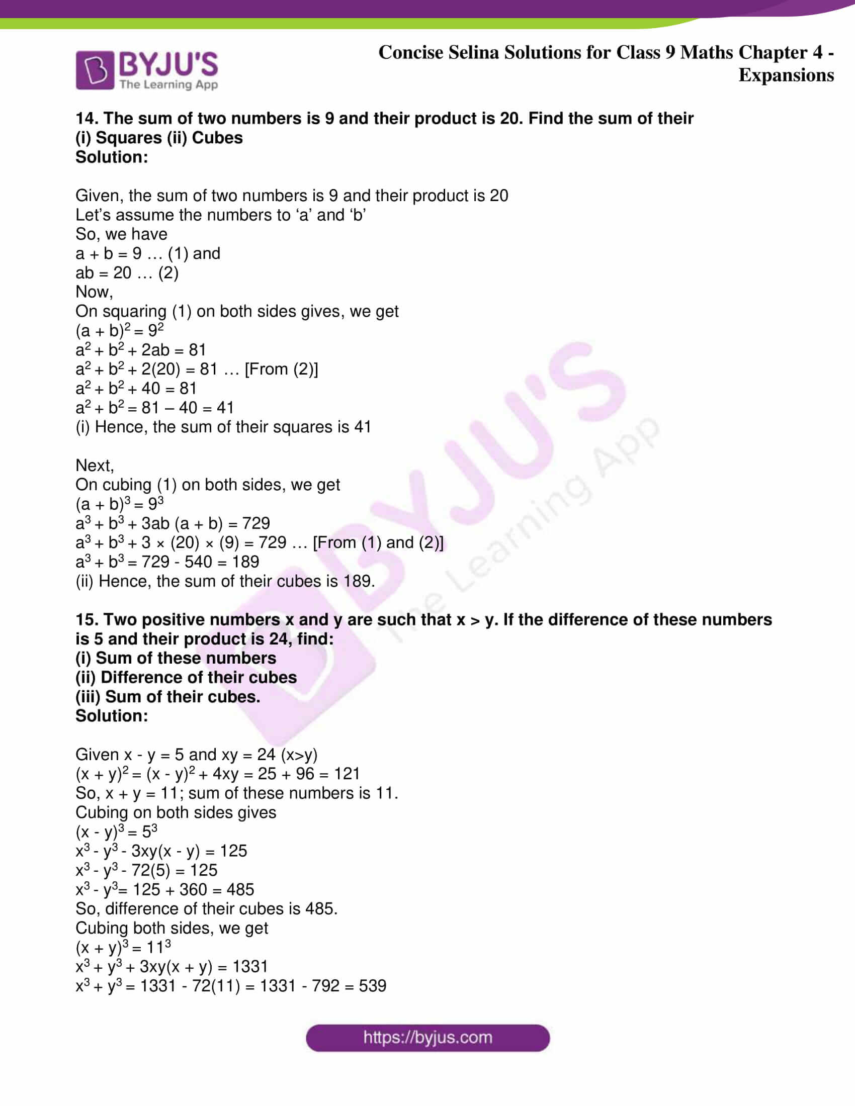 icse class 9 maths may10 selina solutions chapter 4 expansions 16