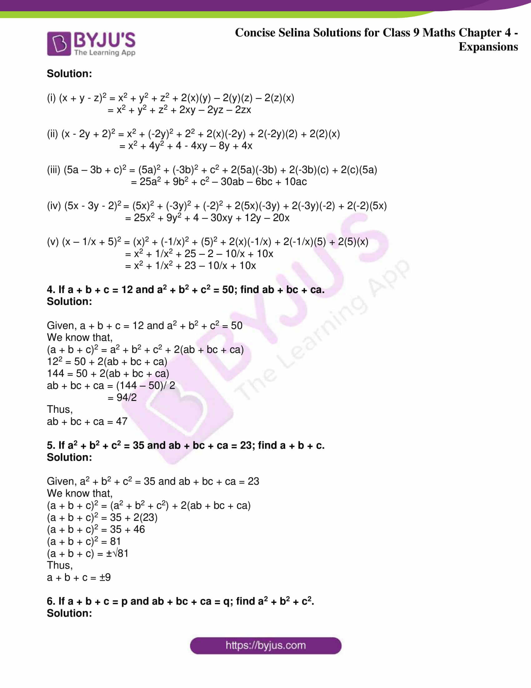 icse class 9 maths may10 selina solutions chapter 4 expansions 19