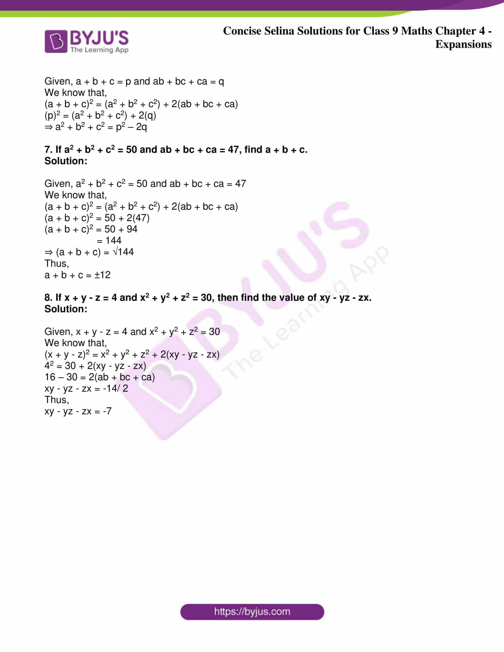 icse class 9 maths may10 selina solutions chapter 4 expansions 20