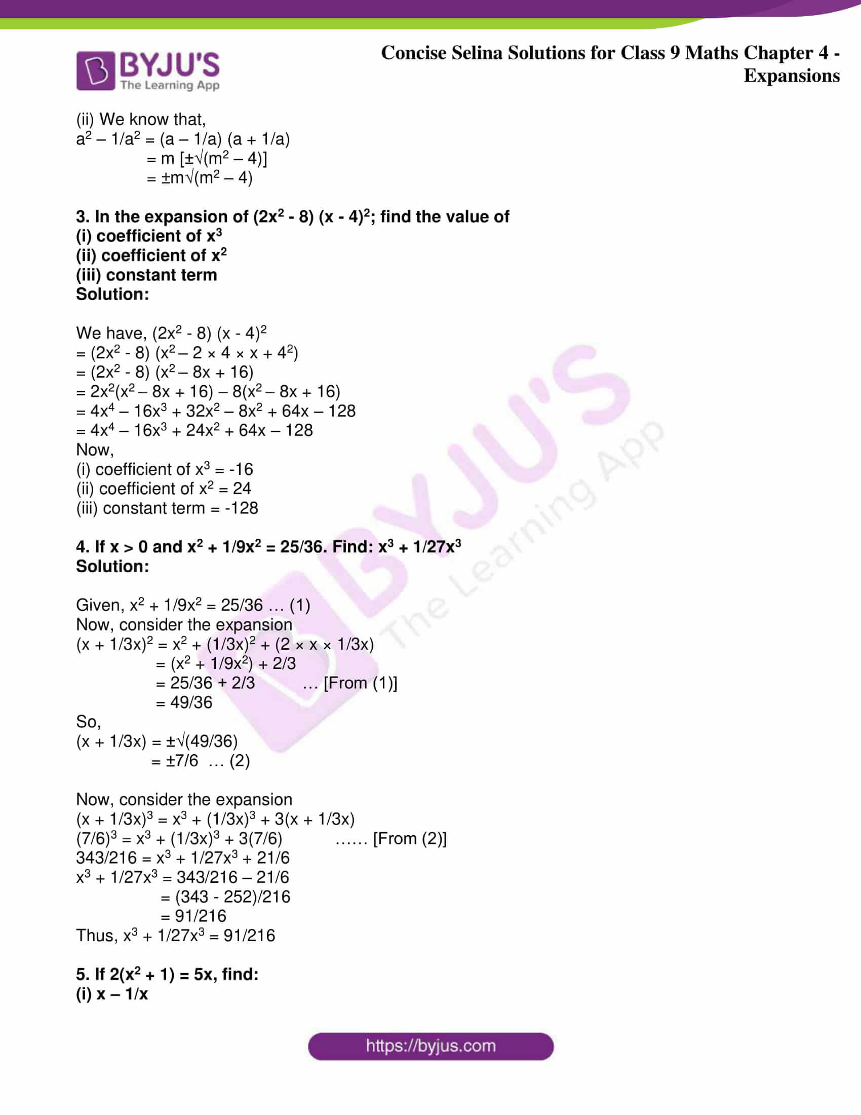 icse class 9 maths may10 selina solutions chapter 4 expansions 22