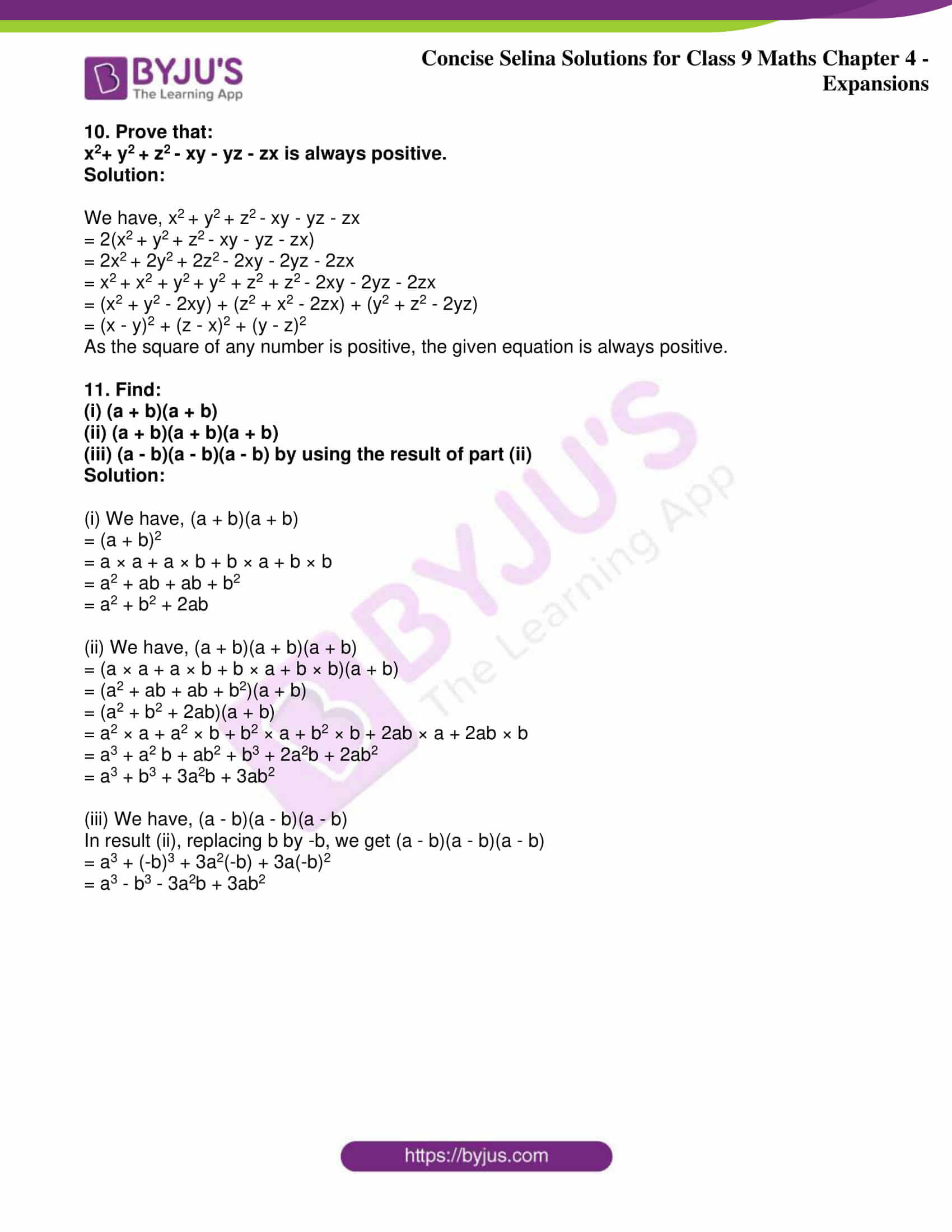 icse class 9 maths may10 selina solutions chapter 4 expansions 34