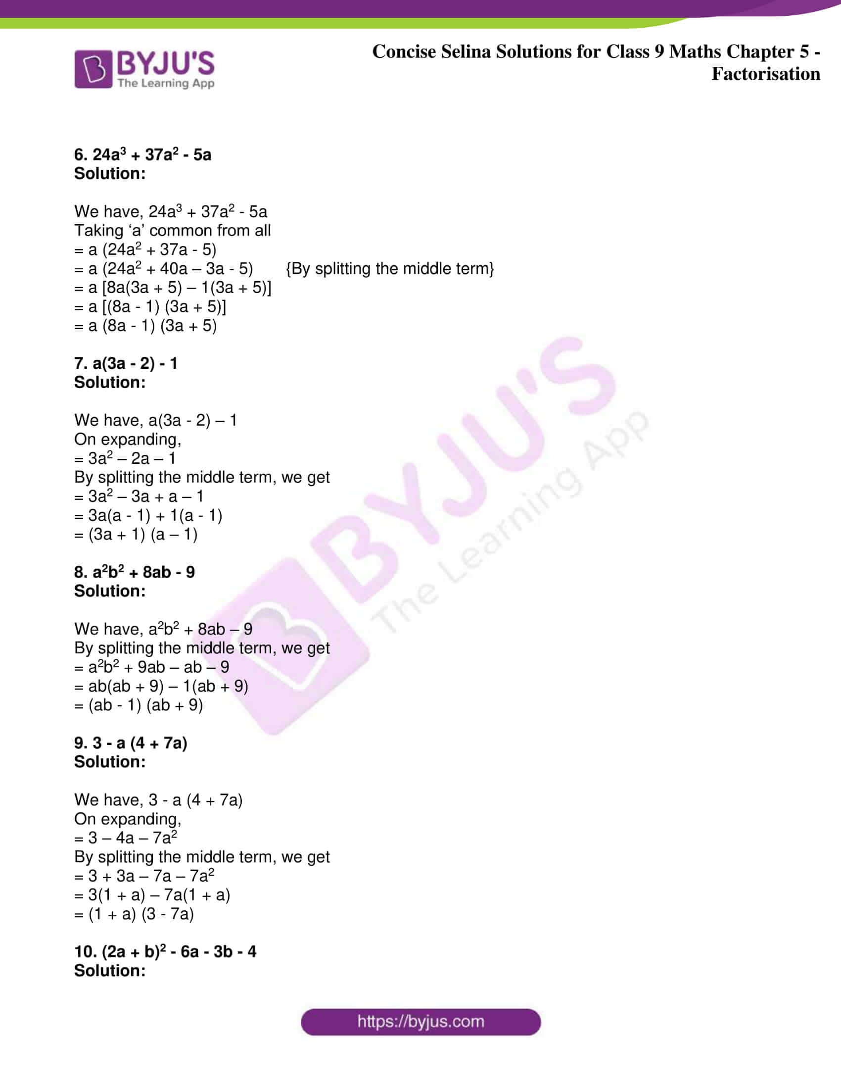 icse class 9 maths may10 selina solutions chapter 5 factorisation 07
