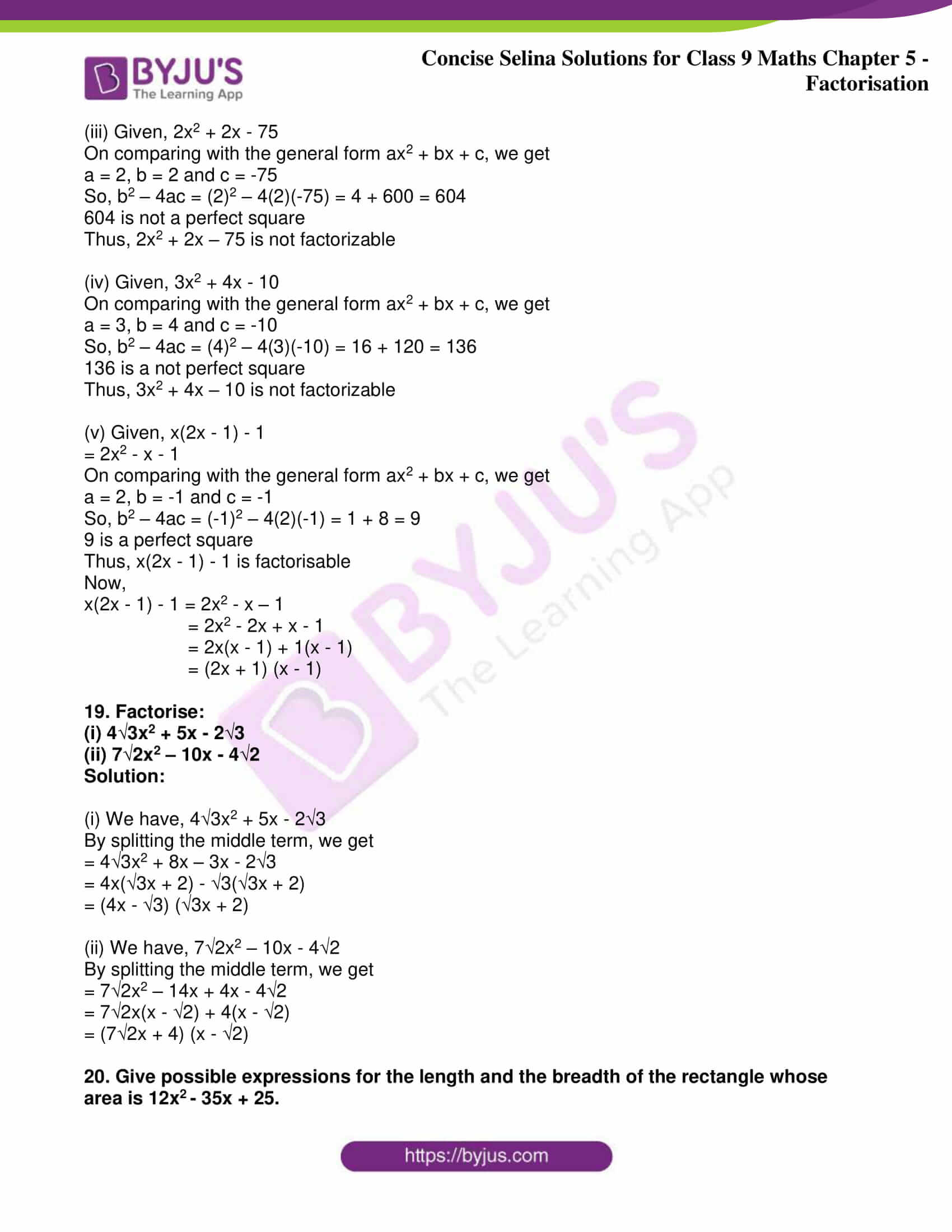 icse class 9 maths may10 selina solutions chapter 5 factorisation 11
