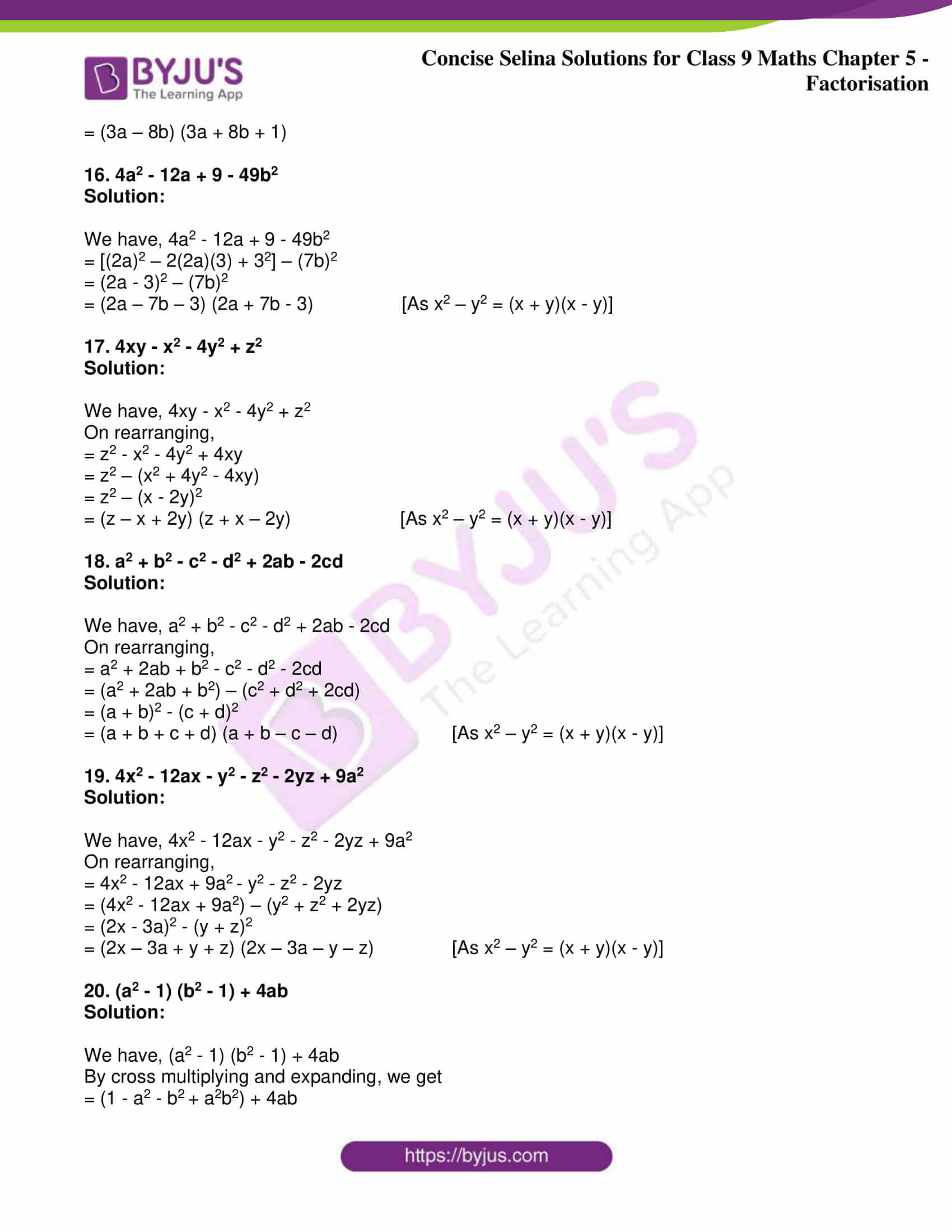 icse class 9 maths may10 selina solutions chapter 5 factorisation 16