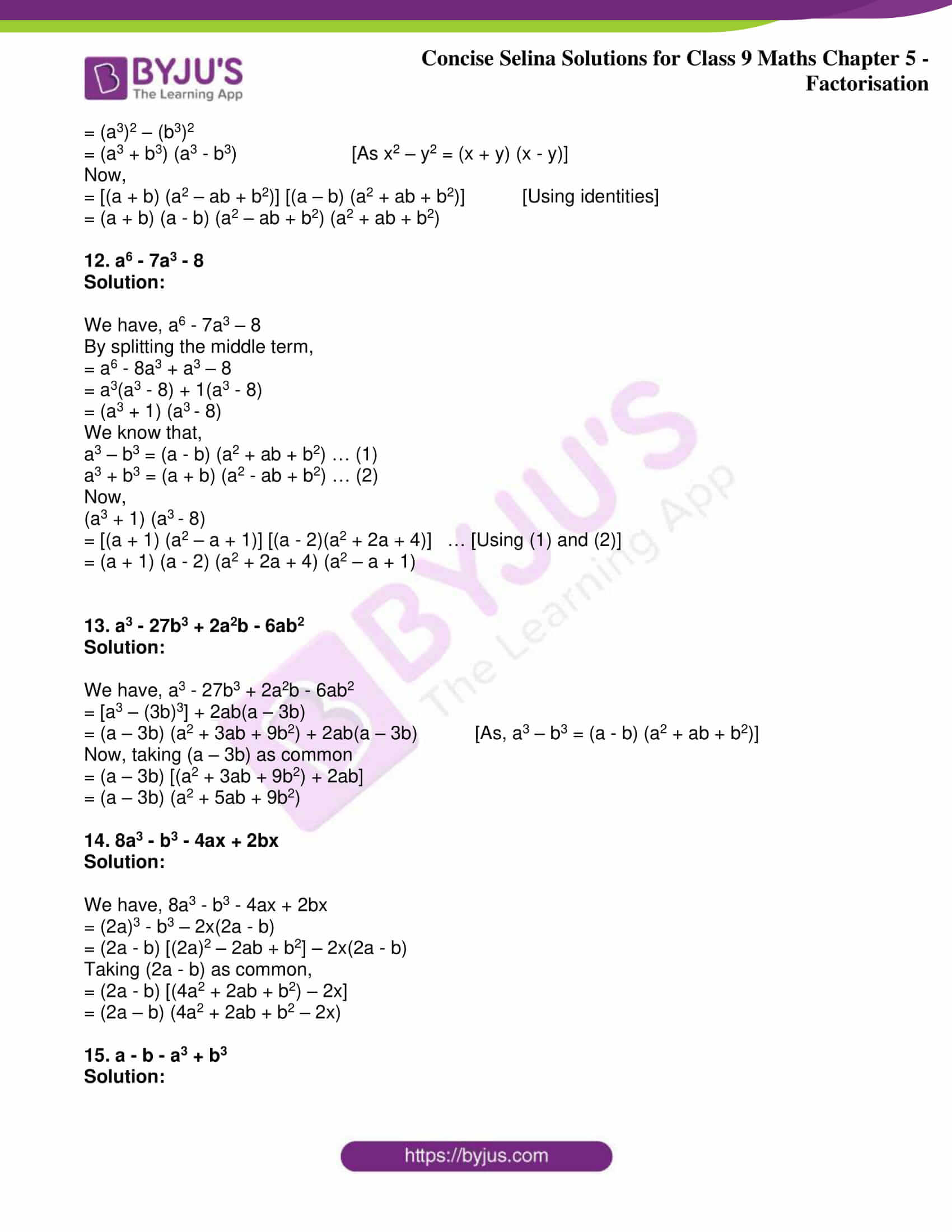 icse class 9 maths may10 selina solutions chapter 5 factorisation 22