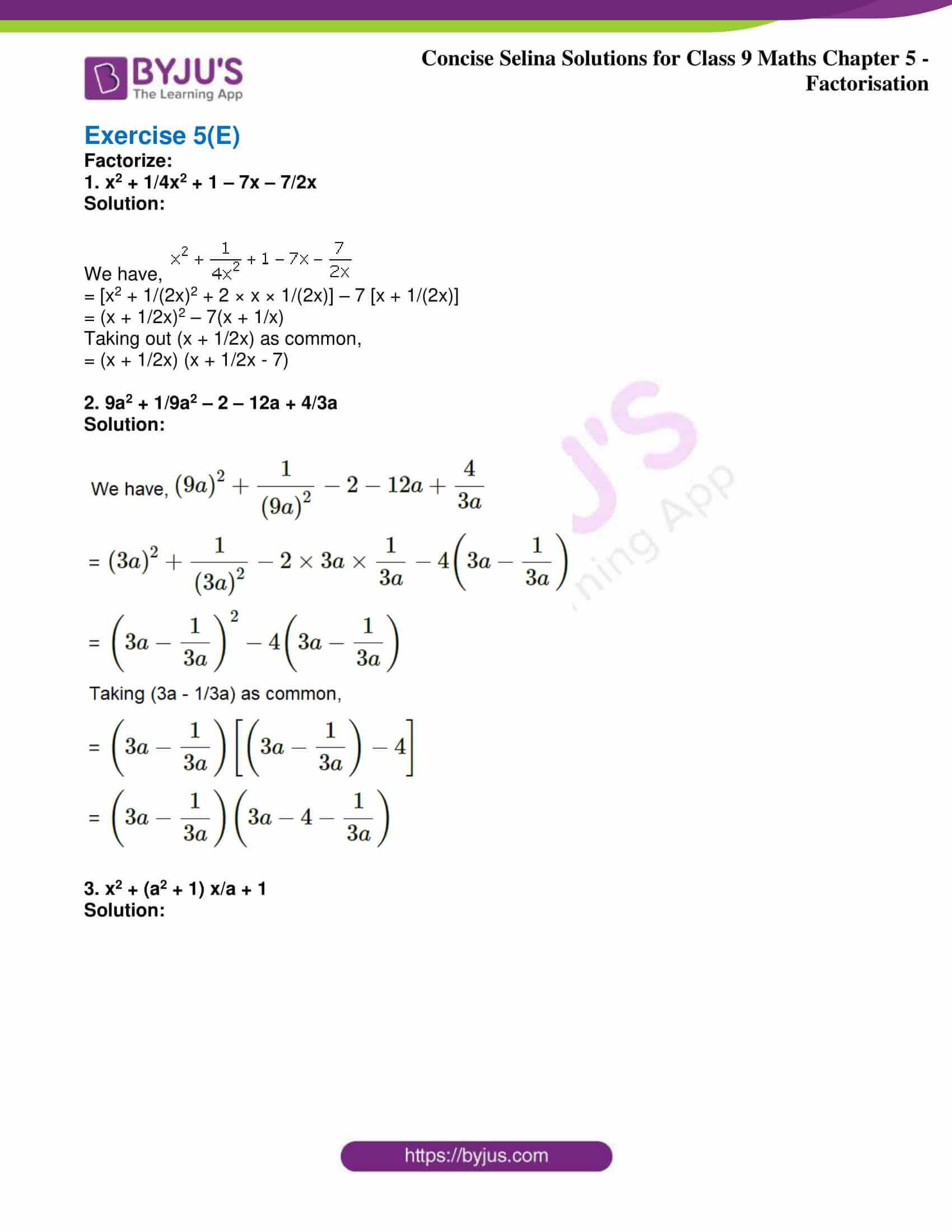 icse class 9 maths may10 selina solutions chapter 5 factorisation 25