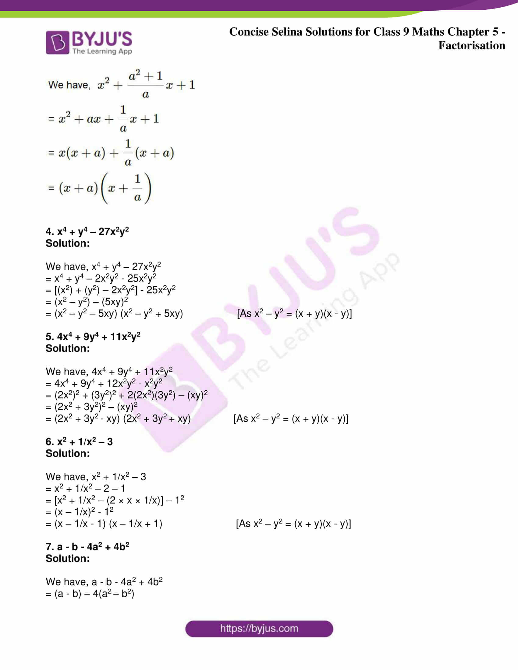 icse class 9 maths may10 selina solutions chapter 5 factorisation 26