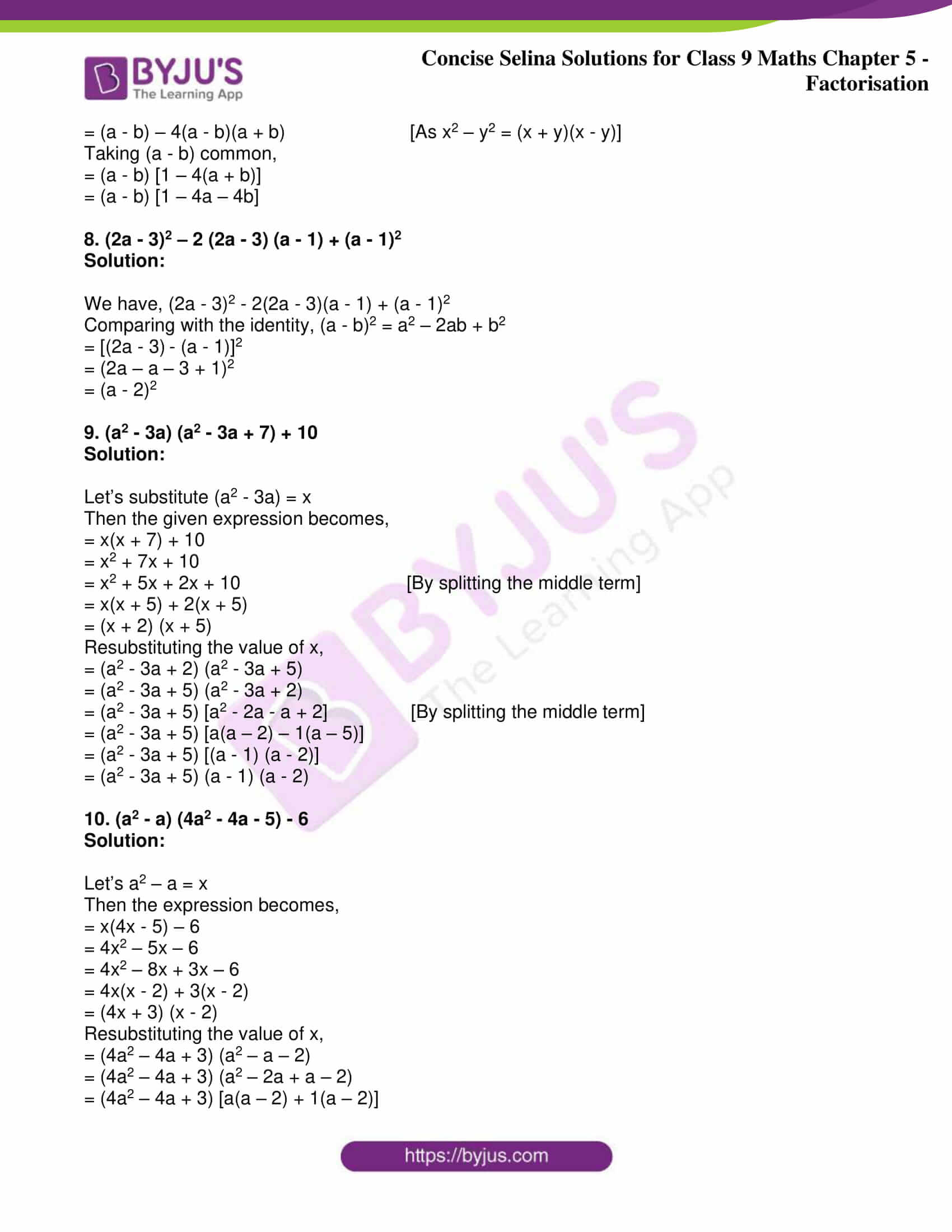 icse class 9 maths may10 selina solutions chapter 5 factorisation 27