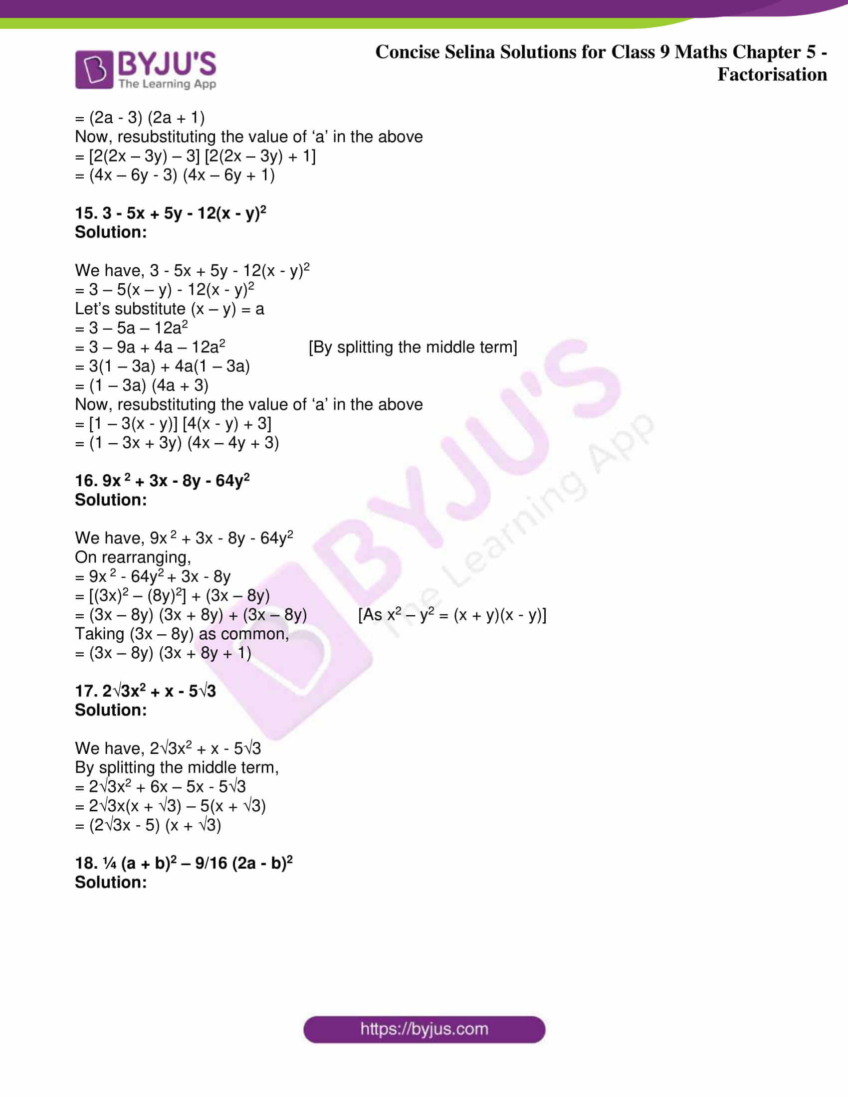 icse class 9 maths may10 selina solutions chapter 5 factorisation 29