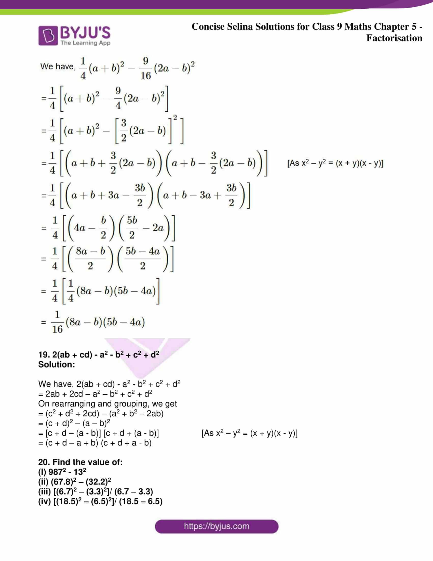 icse class 9 maths may10 selina solutions chapter 5 factorisation 30