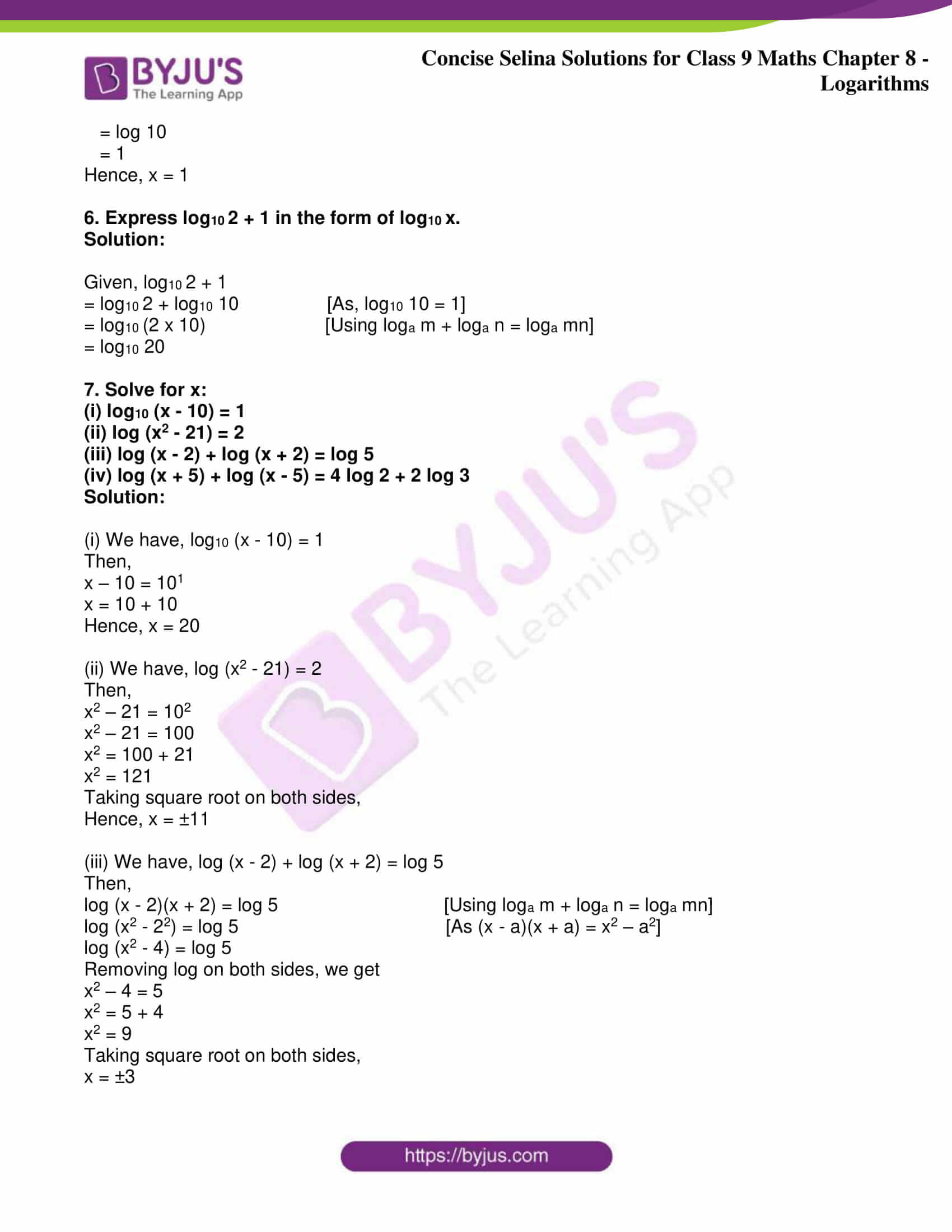 icse class 9 maths may10 selina solutions chapter 8 logarithms 12
