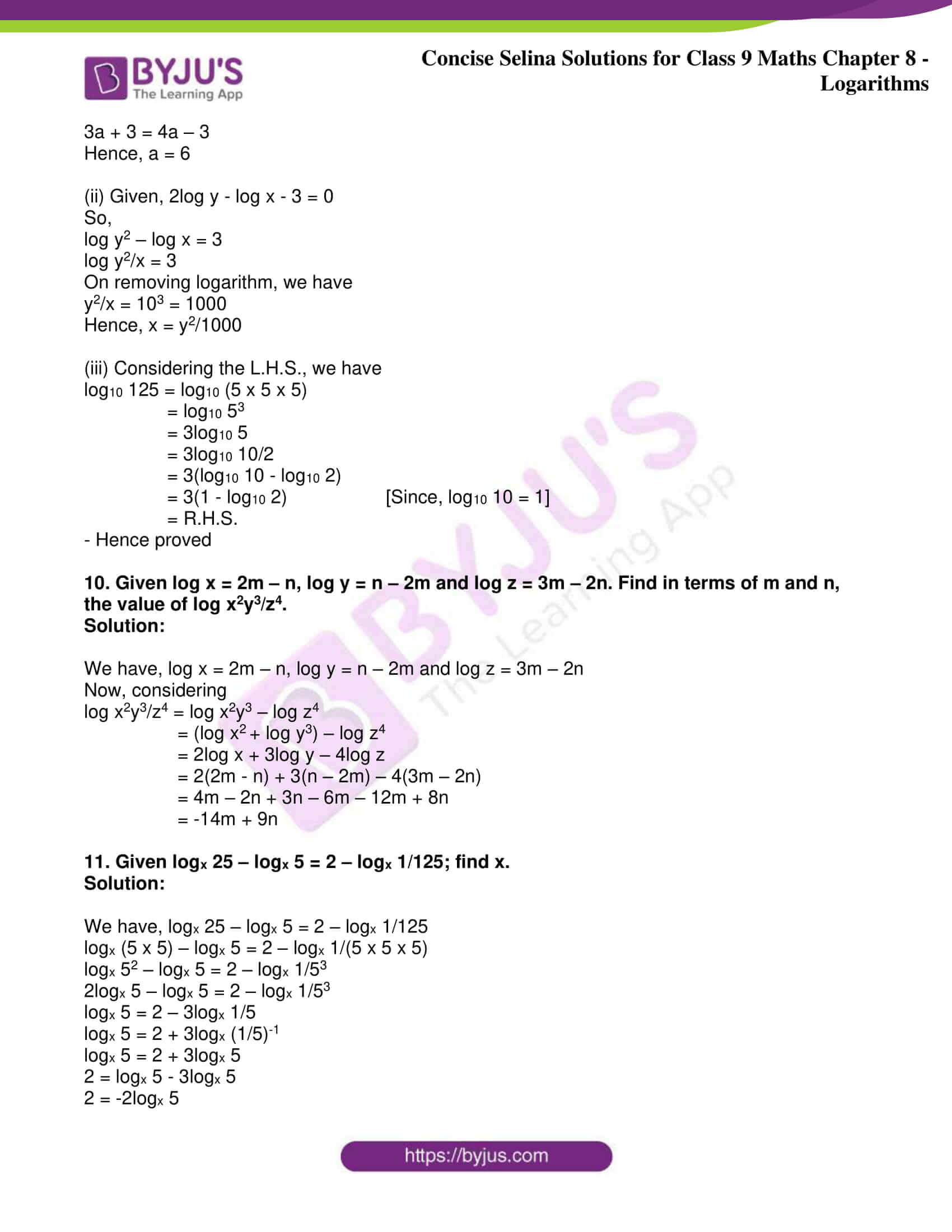 icse class 9 maths may10 selina solutions chapter 8 logarithms 24