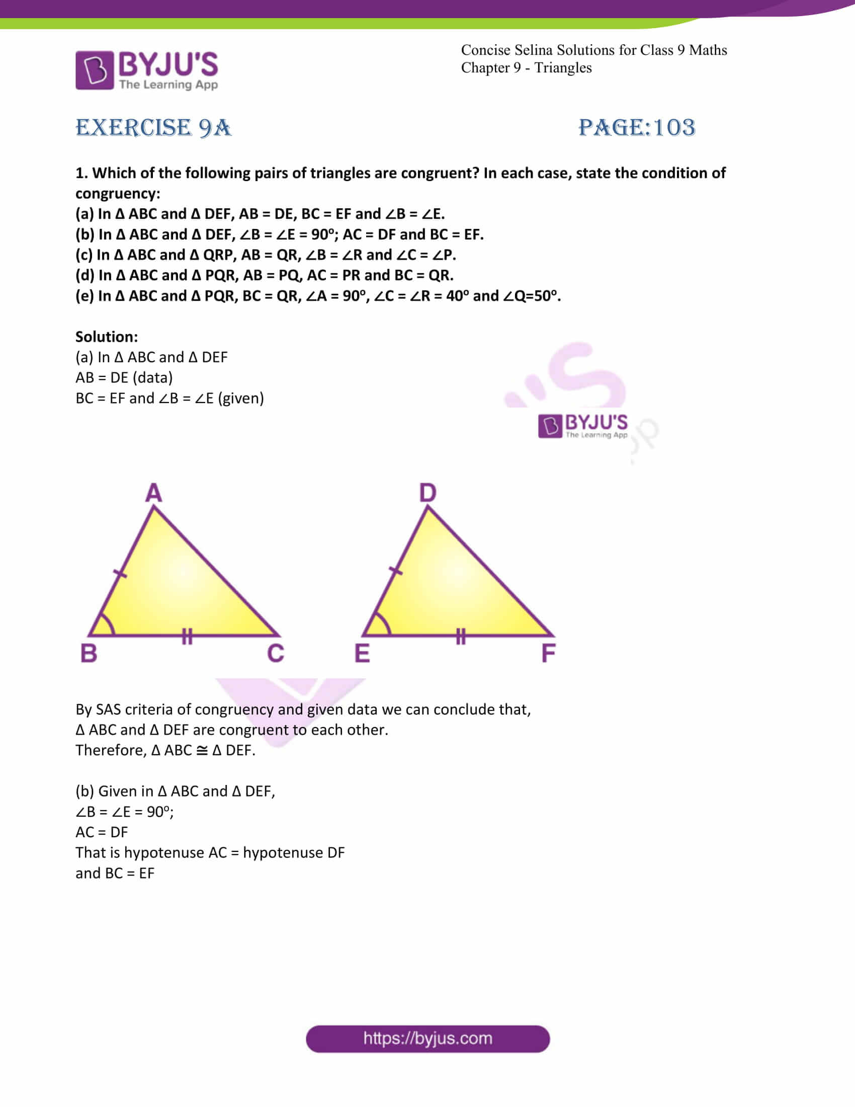 icse class 9 maths may10 selina solutions chapter 9 triangles 01