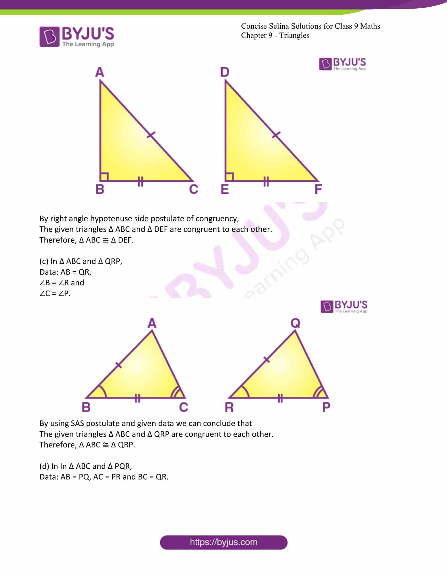 icse class 9 maths may10 selina solutions chapter 9 triangles 02