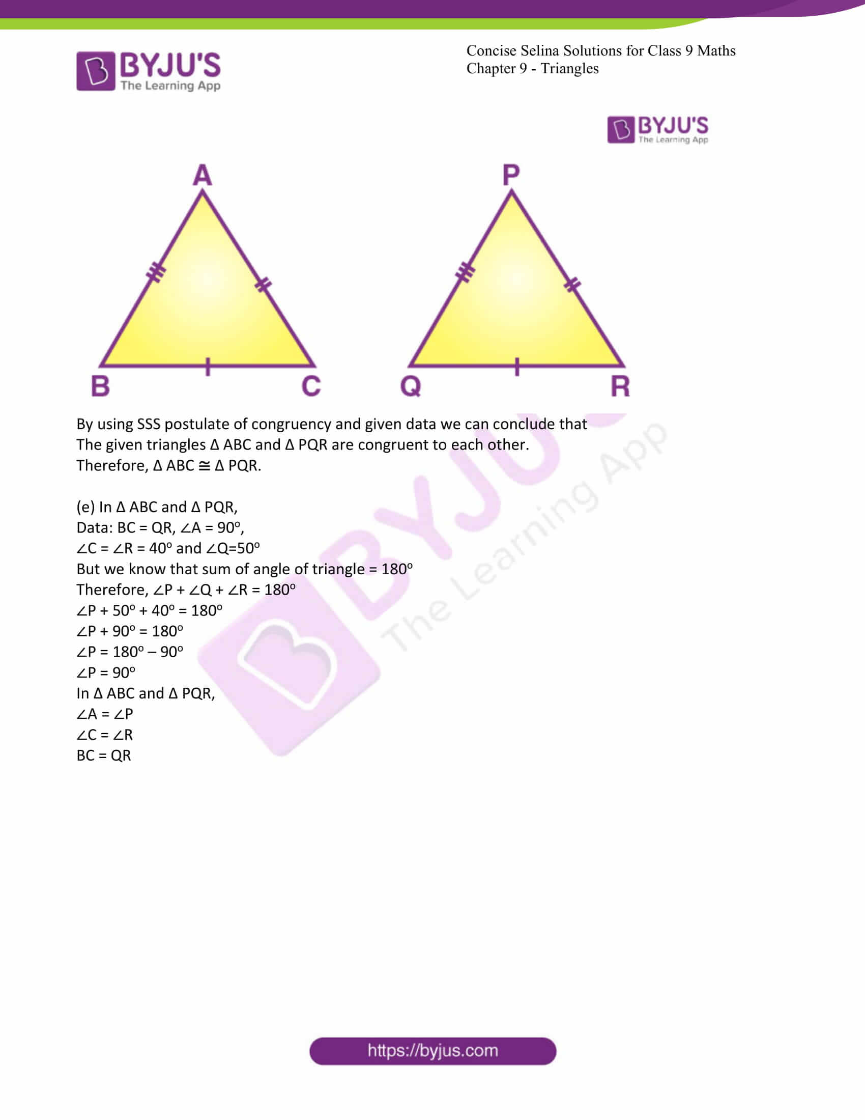 icse class 9 maths may10 selina solutions chapter 9 triangles 03