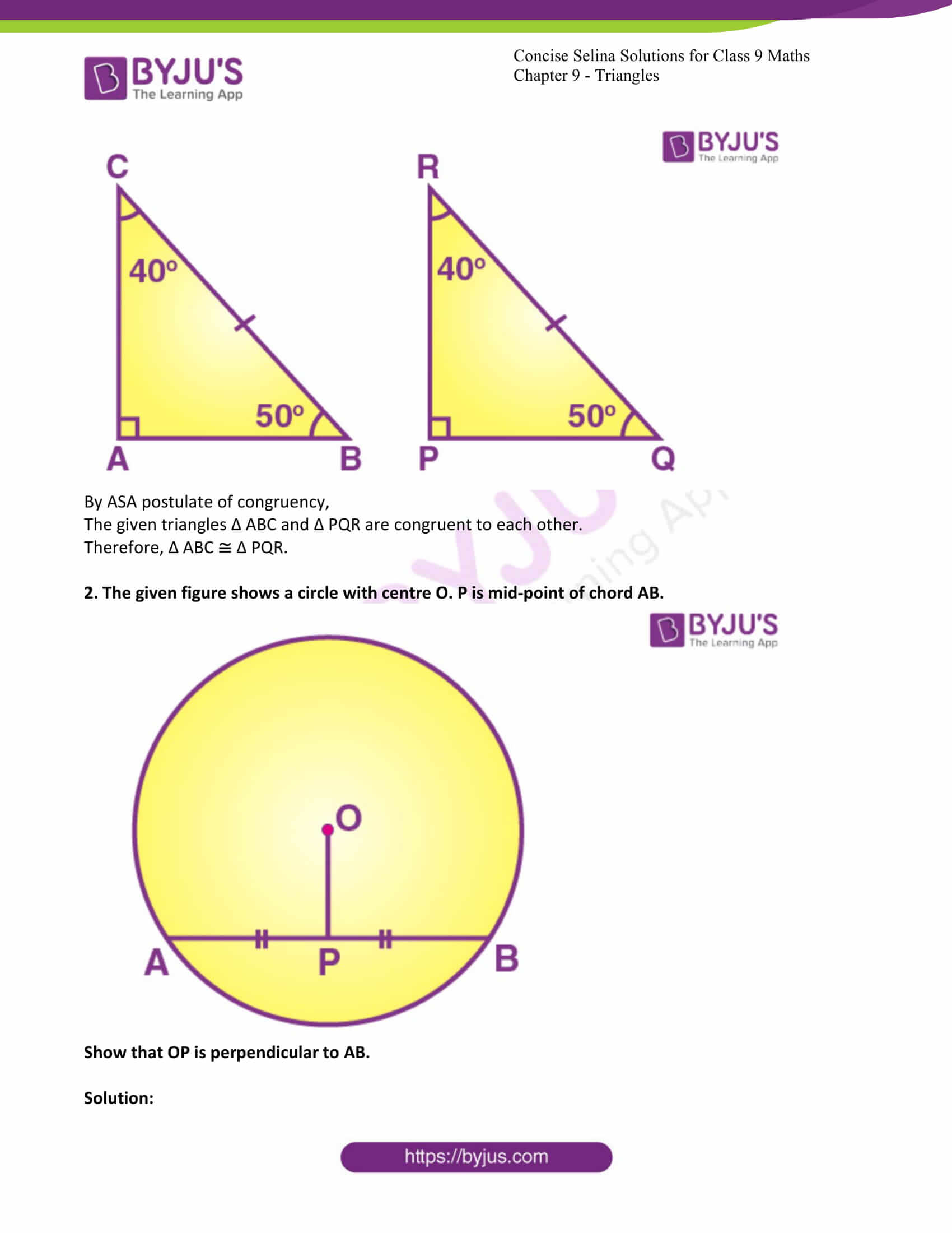 icse class 9 maths may10 selina solutions chapter 9 triangles 04