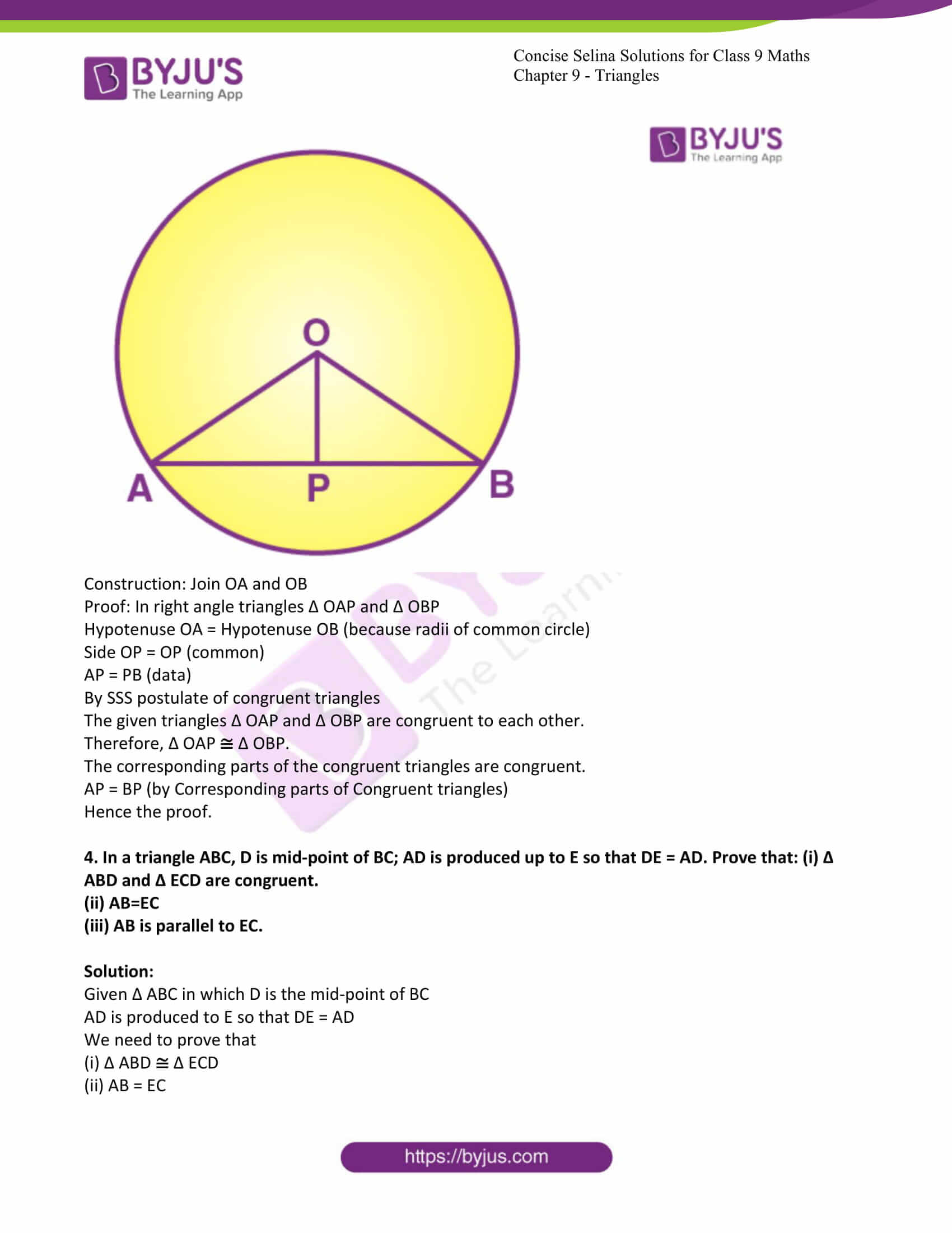icse class 9 maths may10 selina solutions chapter 9 triangles 07