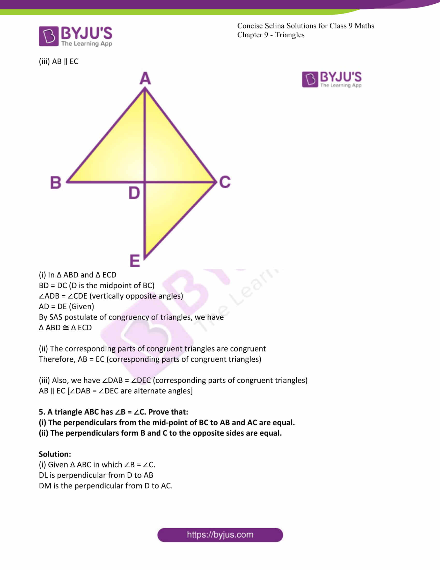 icse class 9 maths may10 selina solutions chapter 9 triangles 08