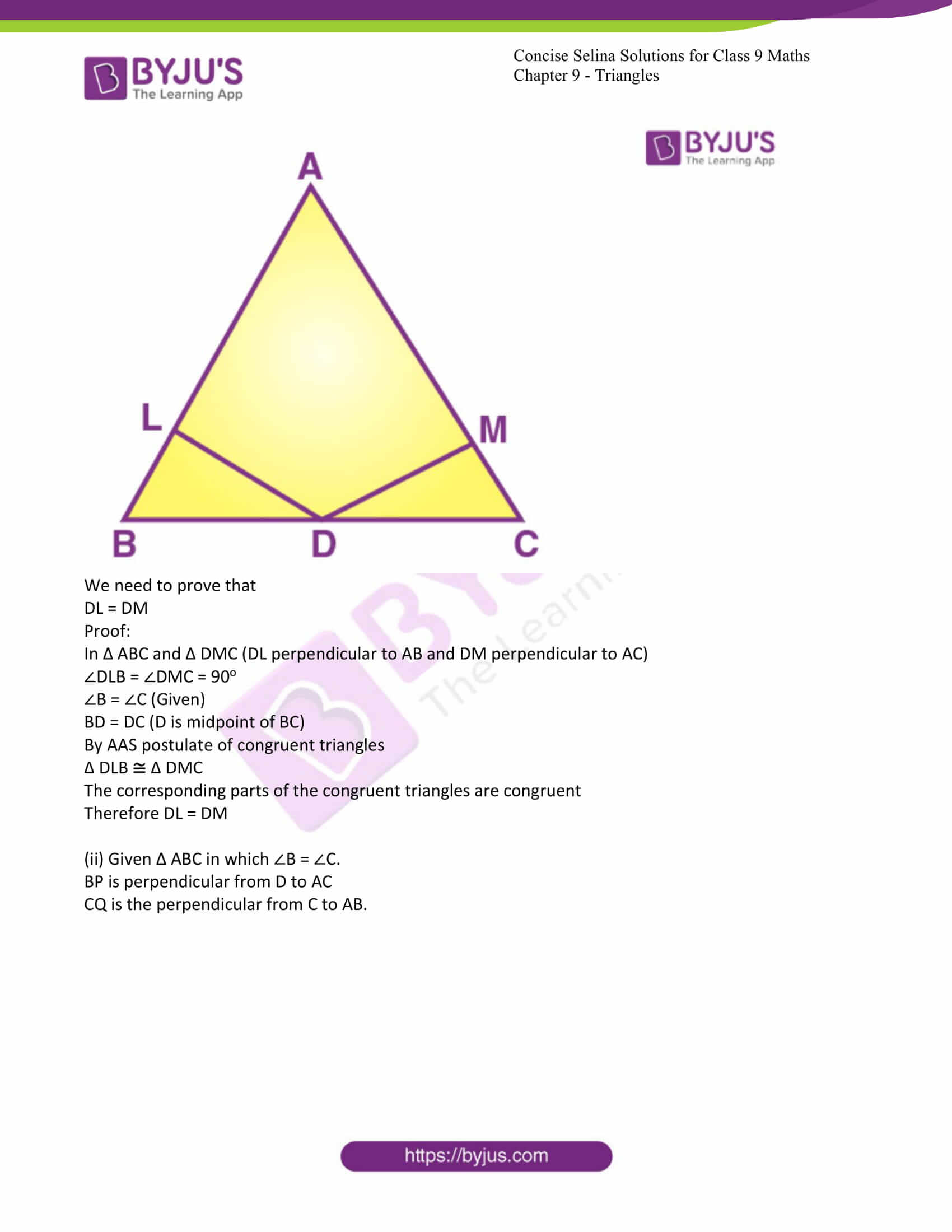 icse class 9 maths may10 selina solutions chapter 9 triangles 09
