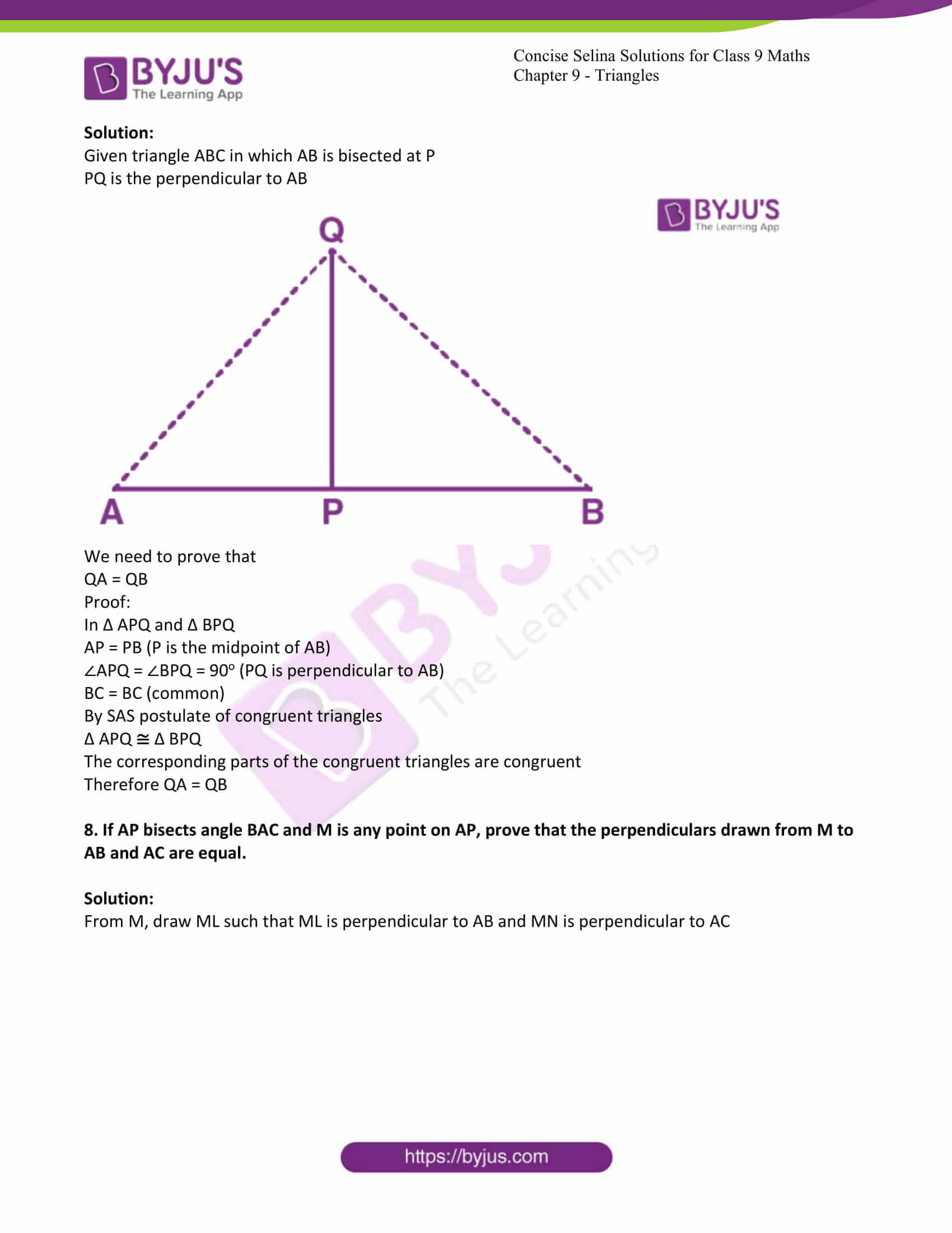icse class 9 maths may10 selina solutions chapter 9 triangles 12