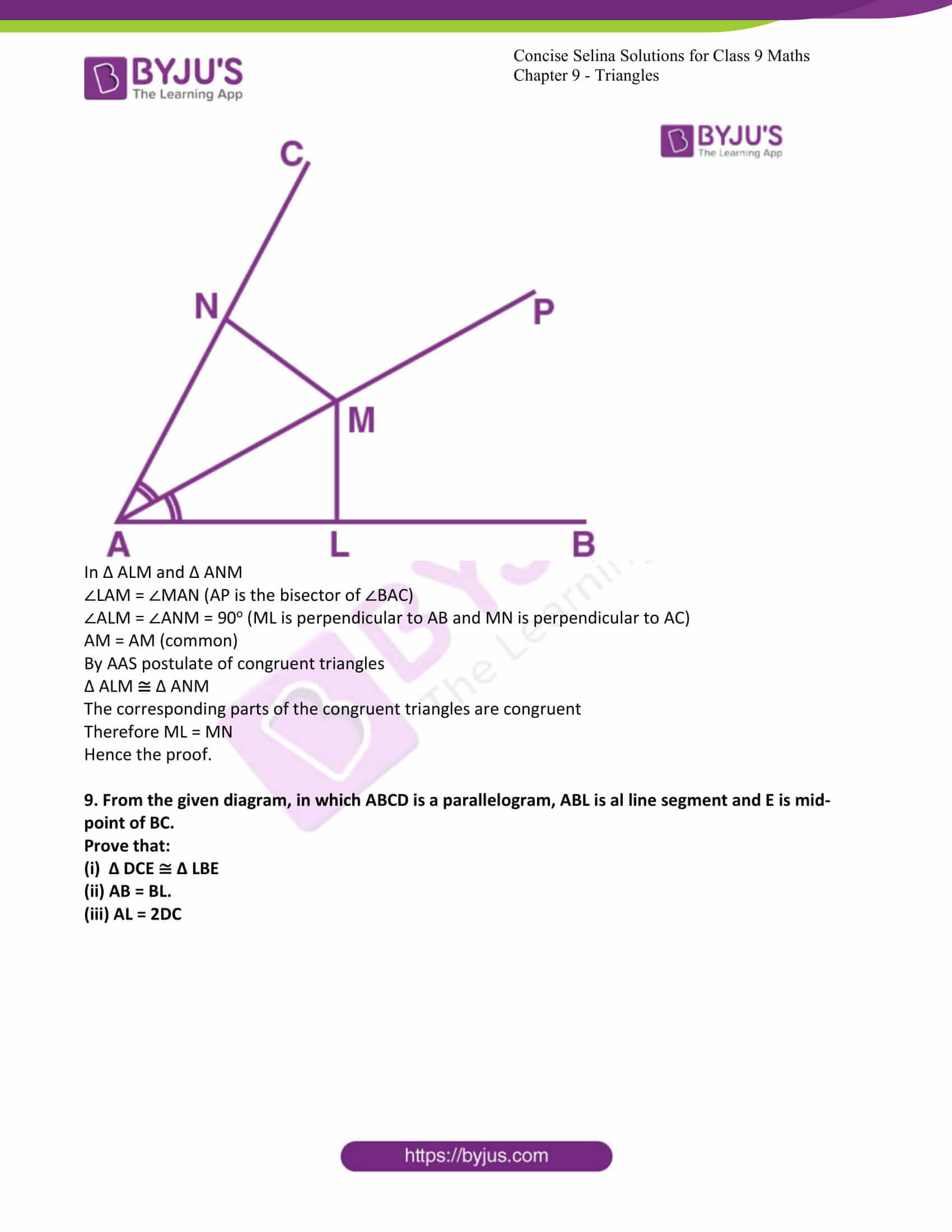 icse class 9 maths may10 selina solutions chapter 9 triangles 13