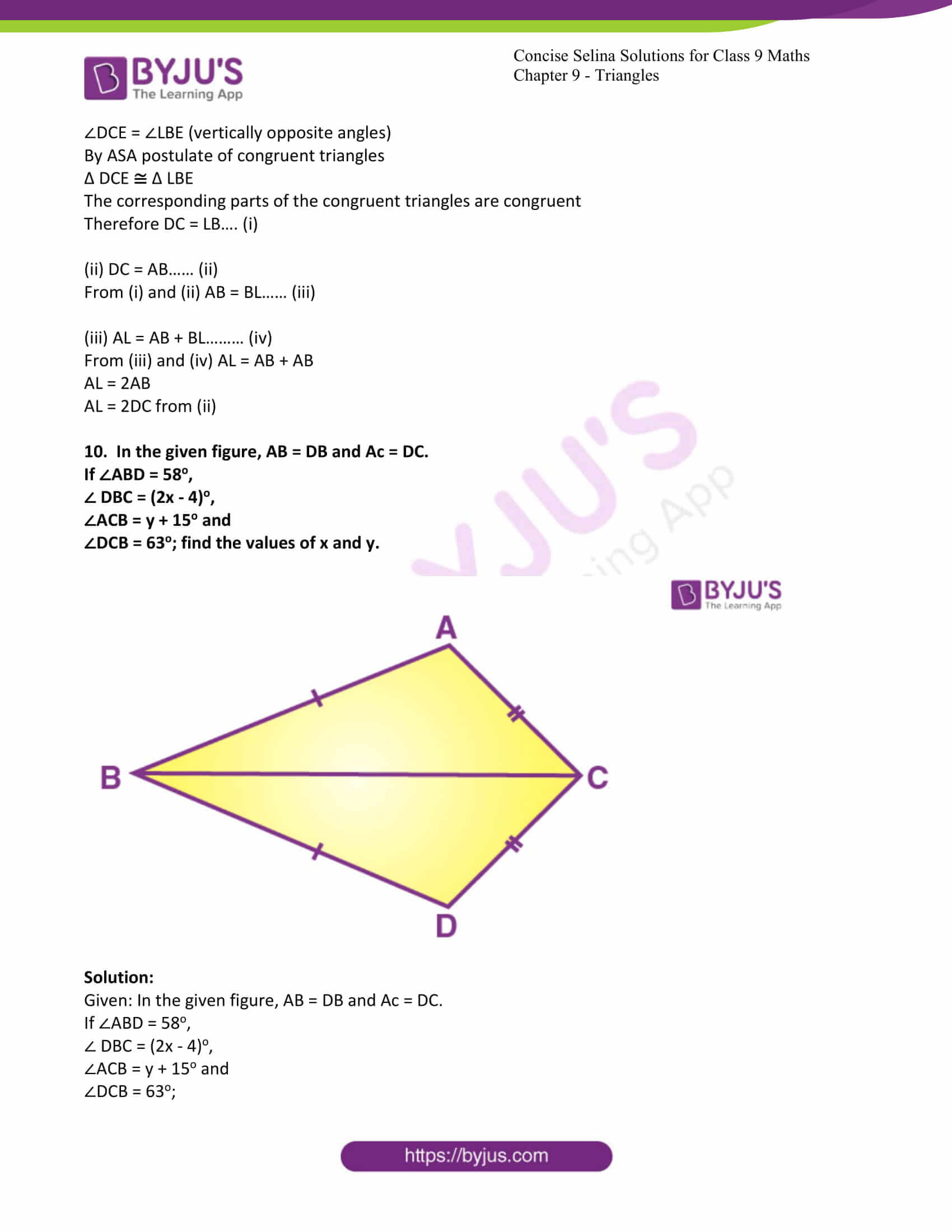 icse class 9 maths may10 selina solutions chapter 9 triangles 15