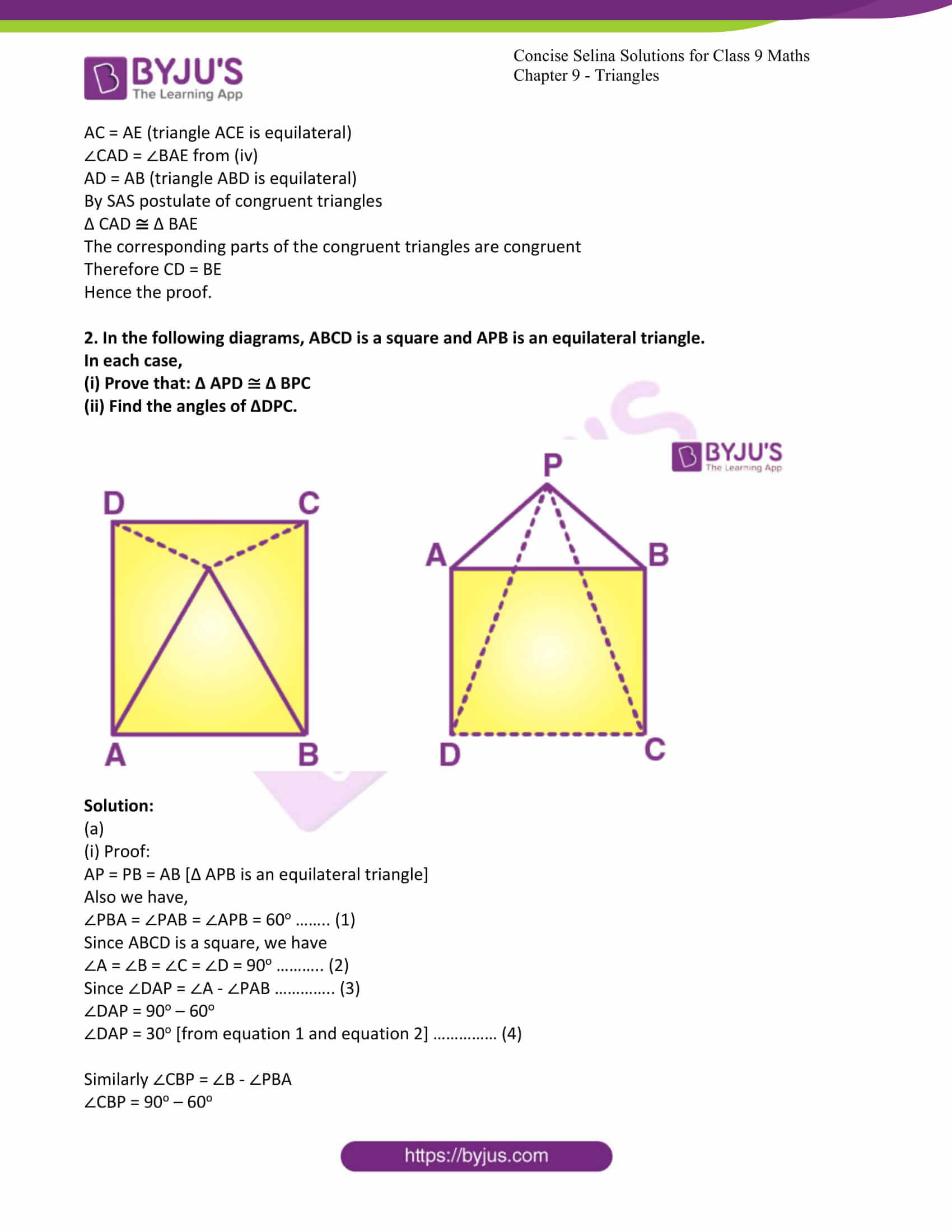 icse class 9 maths may10 selina solutions chapter 9 triangles 18