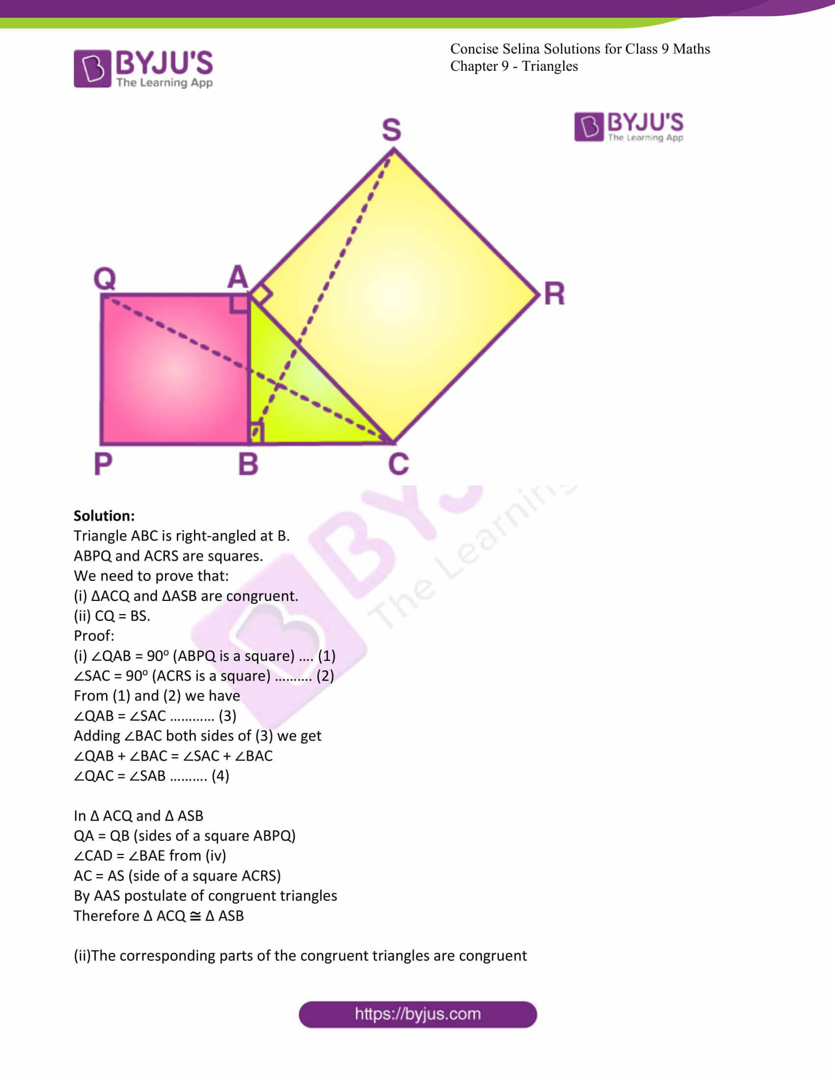 icse class 9 maths may10 selina solutions chapter 9 triangles 22