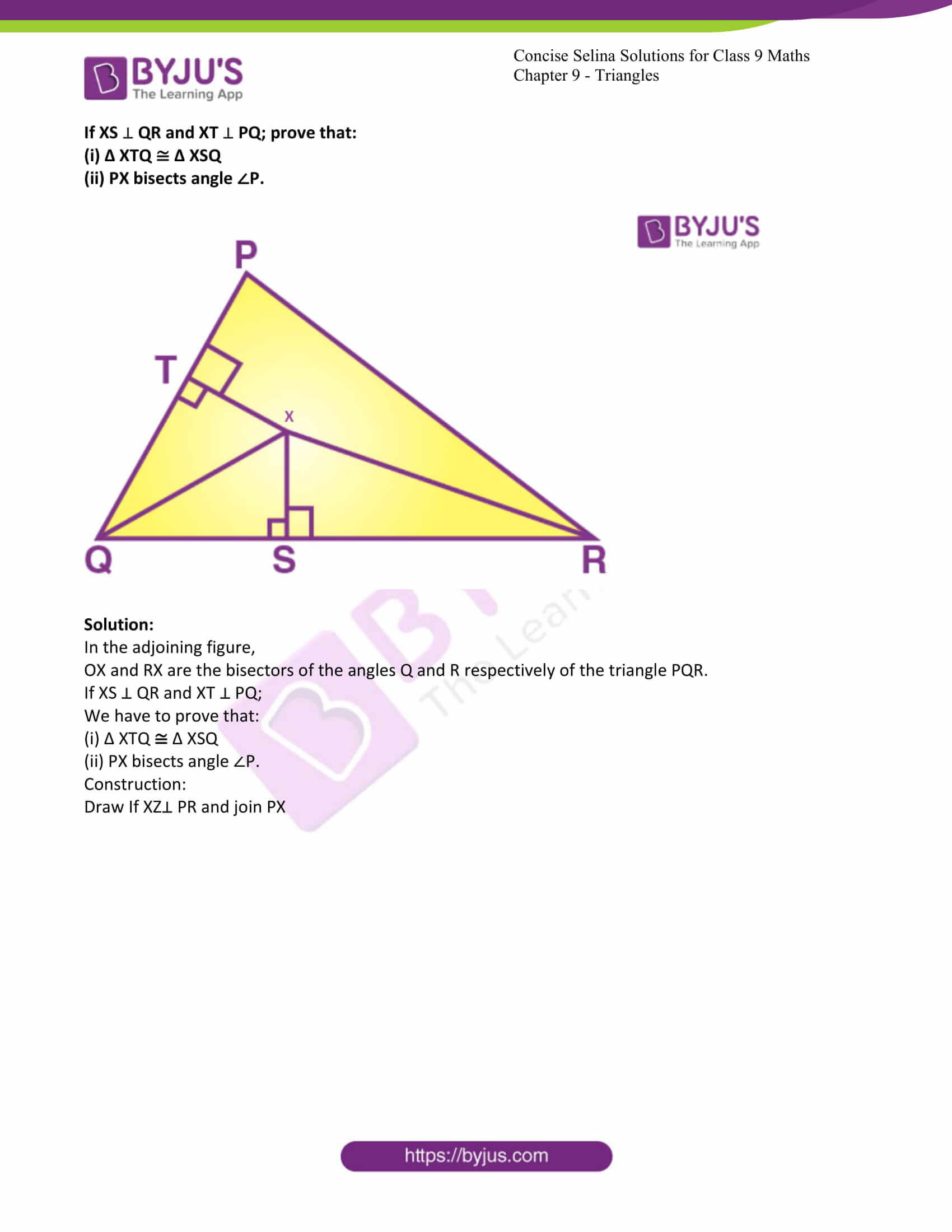 icse class 9 maths may10 selina solutions chapter 9 triangles 24