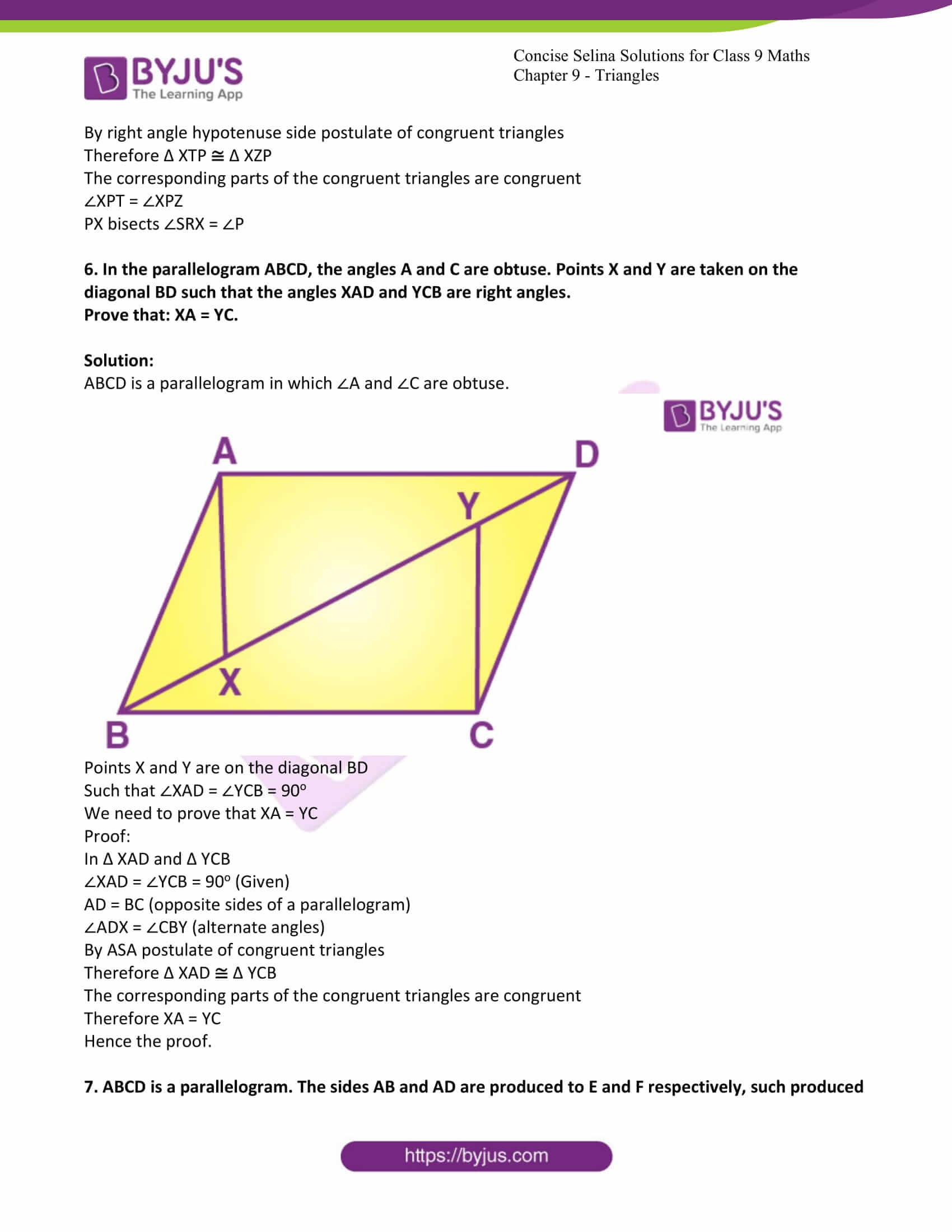 icse class 9 maths may10 selina solutions chapter 9 triangles 26