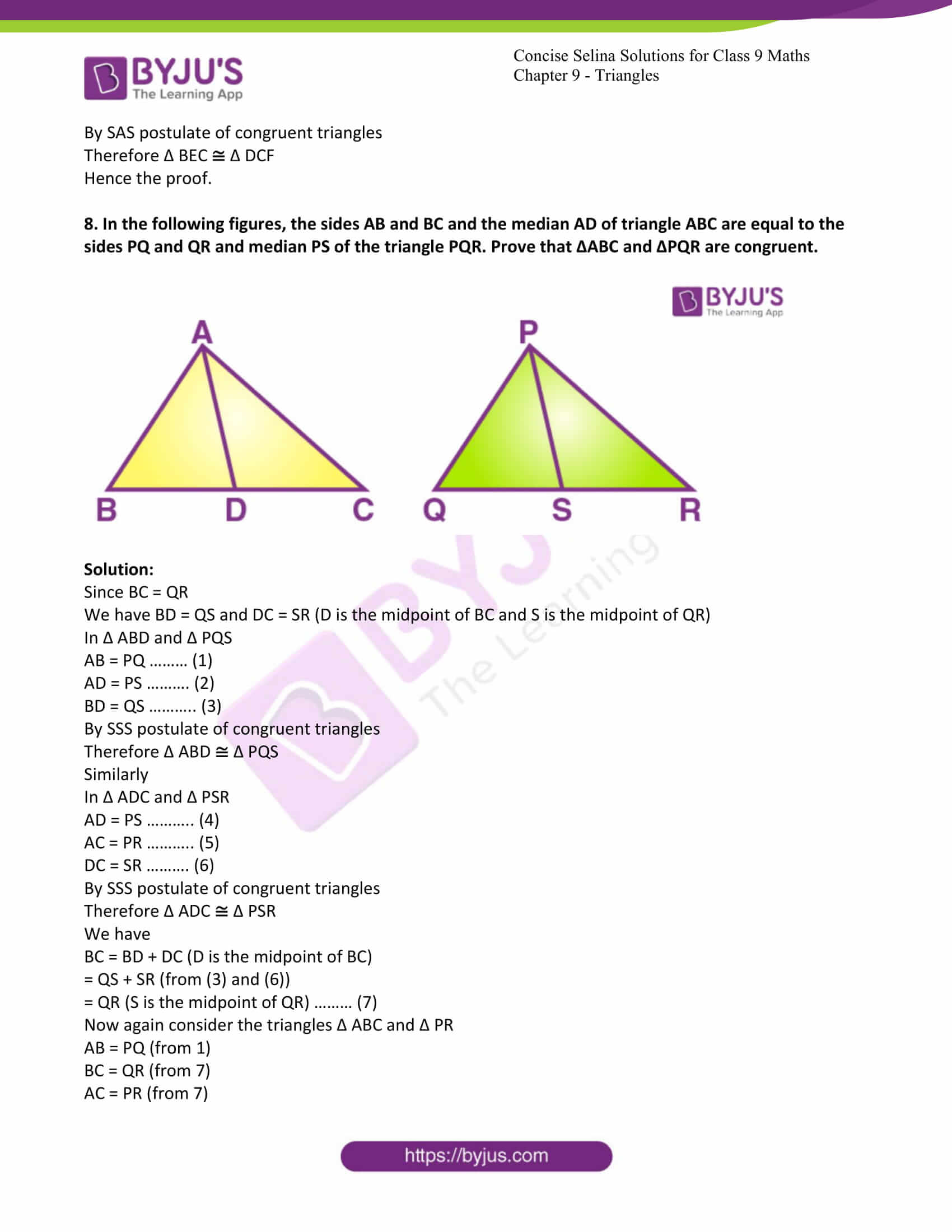 icse class 9 maths may10 selina solutions chapter 9 triangles 28