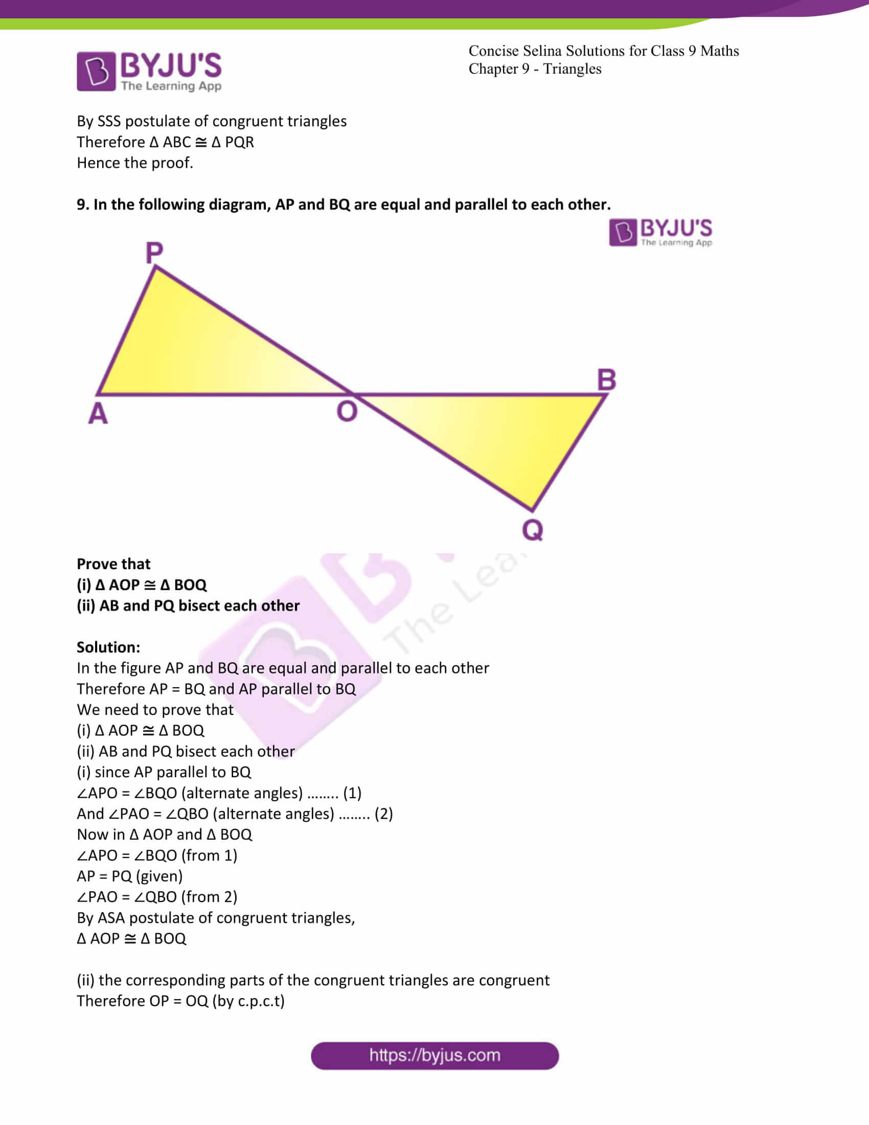 icse class 9 maths may10 selina solutions chapter 9 triangles 29