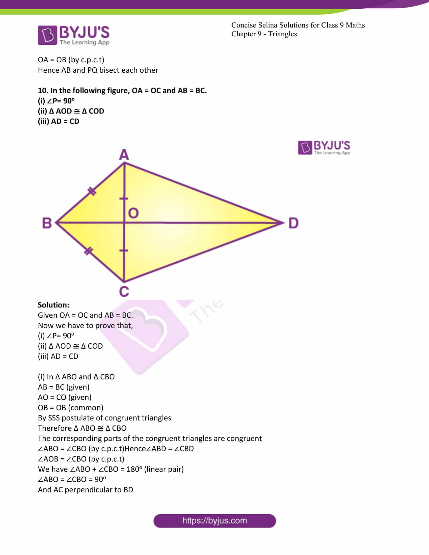 icse class 9 maths may10 selina solutions chapter 9 triangles 30