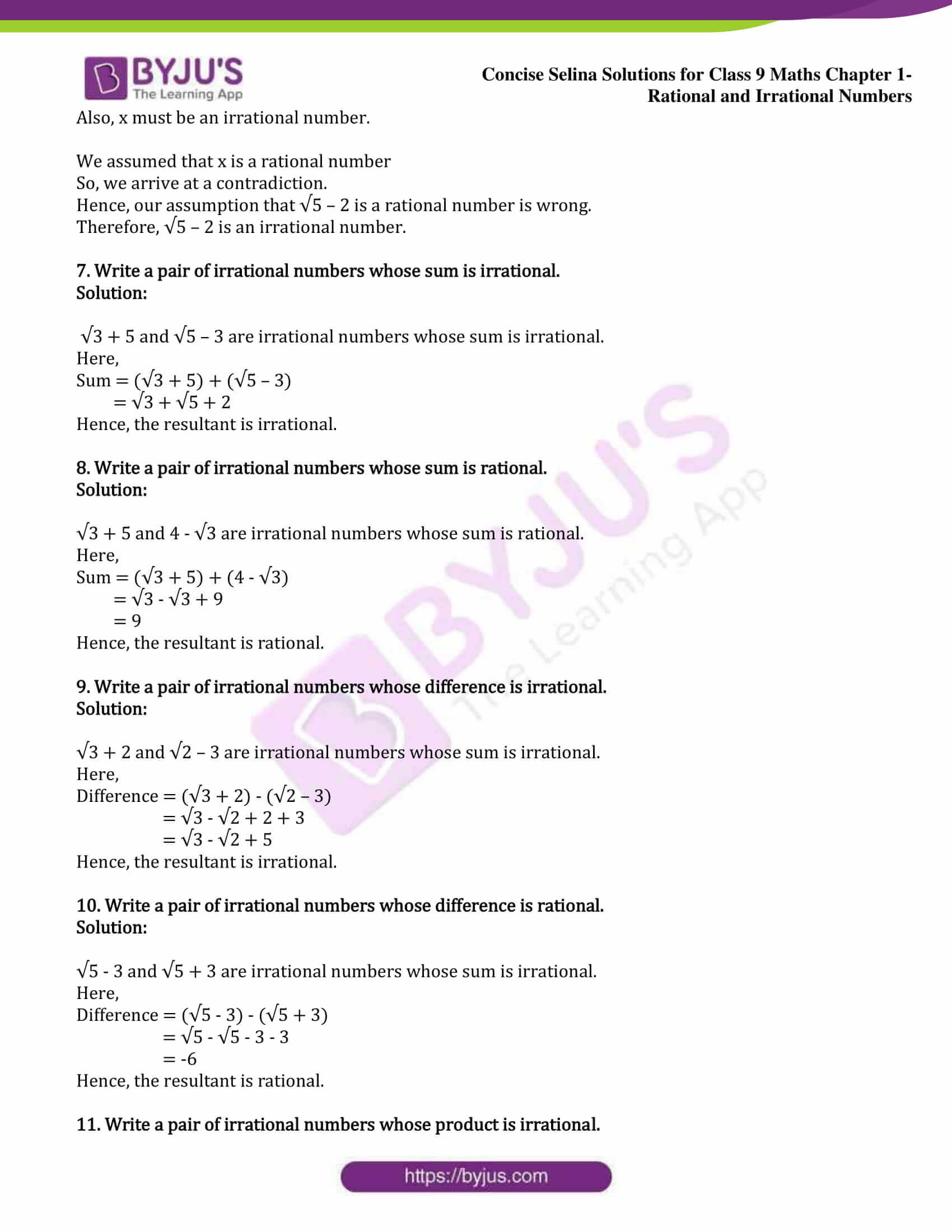 icse class 9 maths may13 selina solutions chapter 1 rational and irrational numbers 10