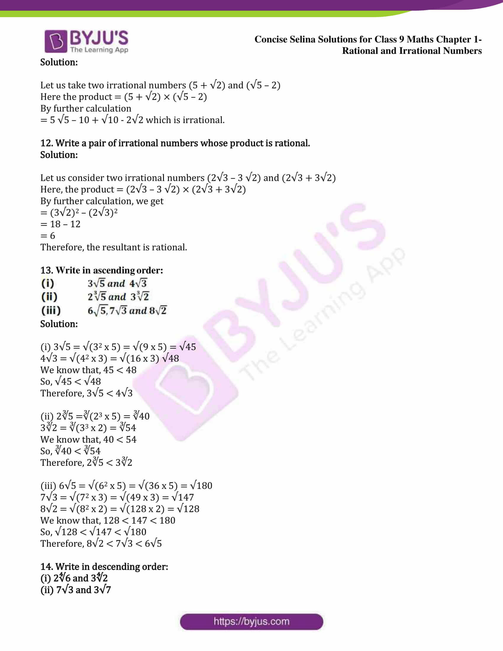 icse class 9 maths may13 selina solutions chapter 1 rational and irrational numbers 11