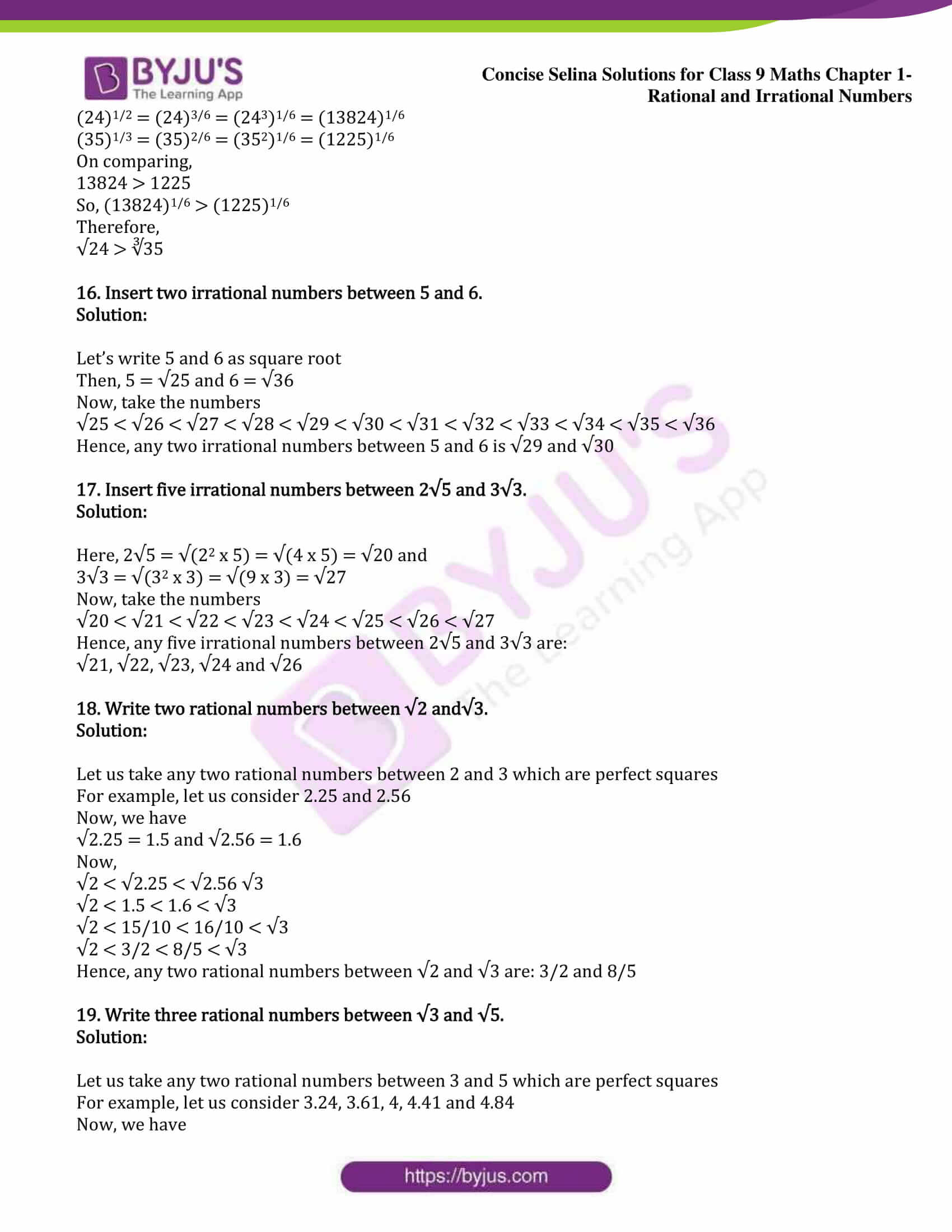icse class 9 maths may13 selina solutions chapter 1 rational and irrational numbers 13