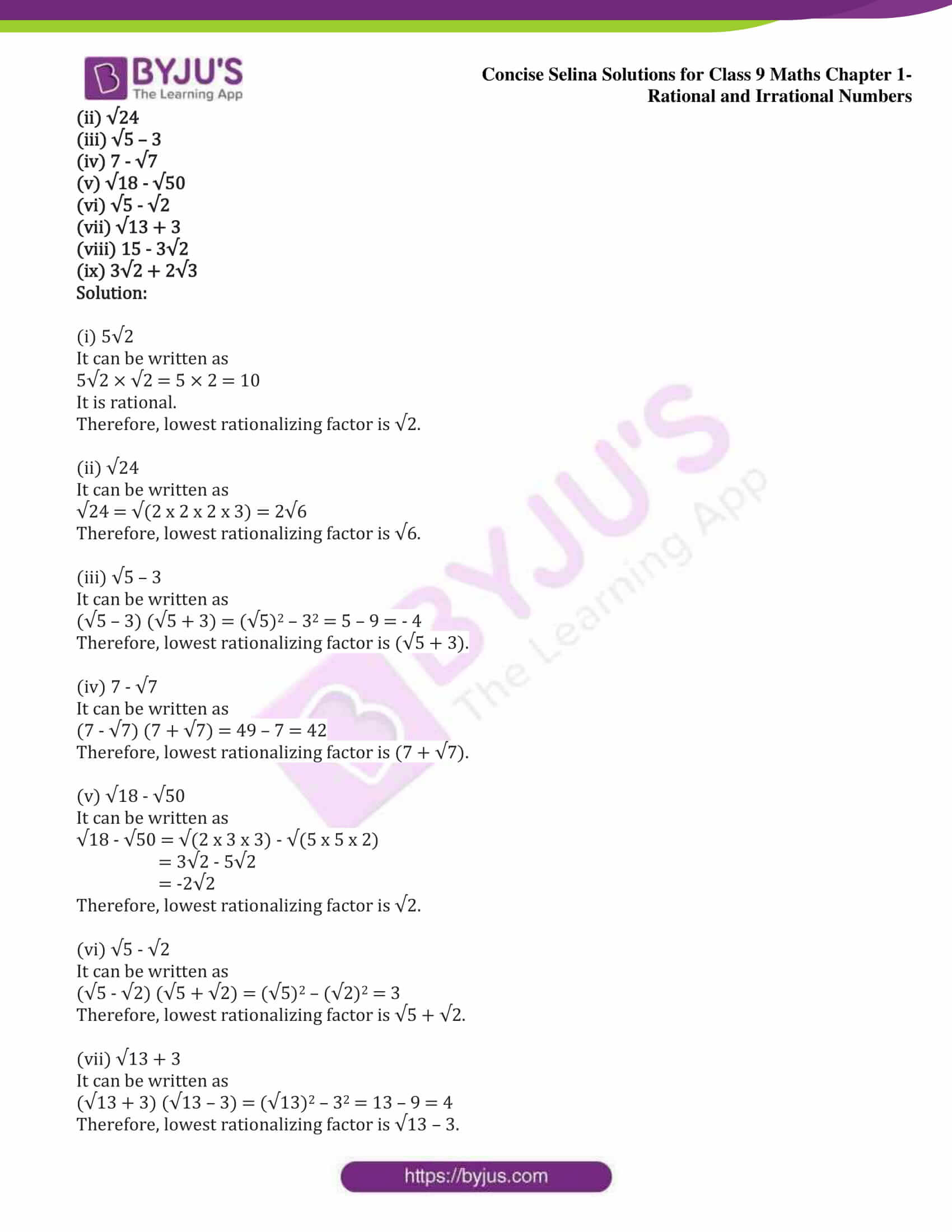 icse class 9 maths may13 selina solutions chapter 1 rational and irrational numbers 16