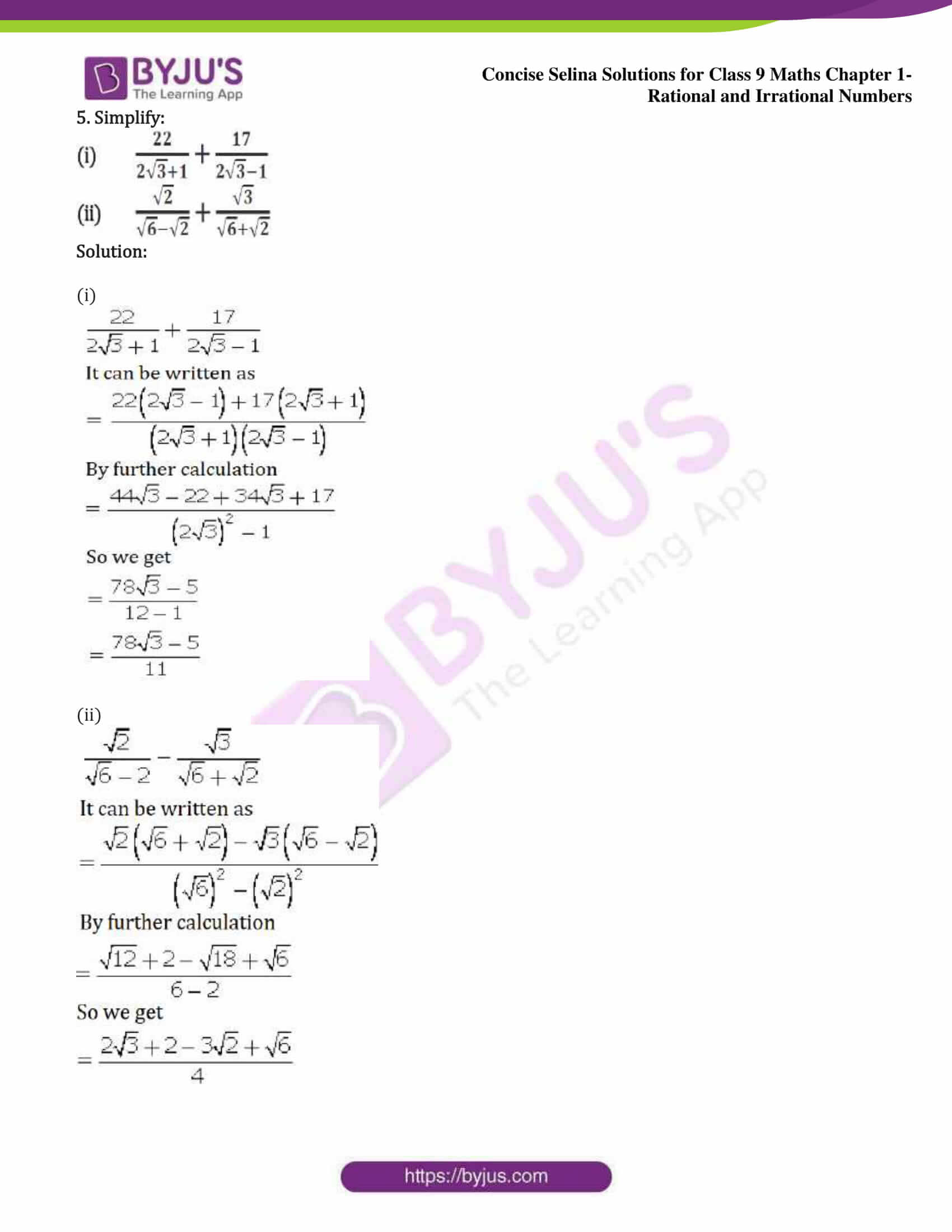 icse class 9 maths may13 selina solutions chapter 1 rational and irrational numbers 22
