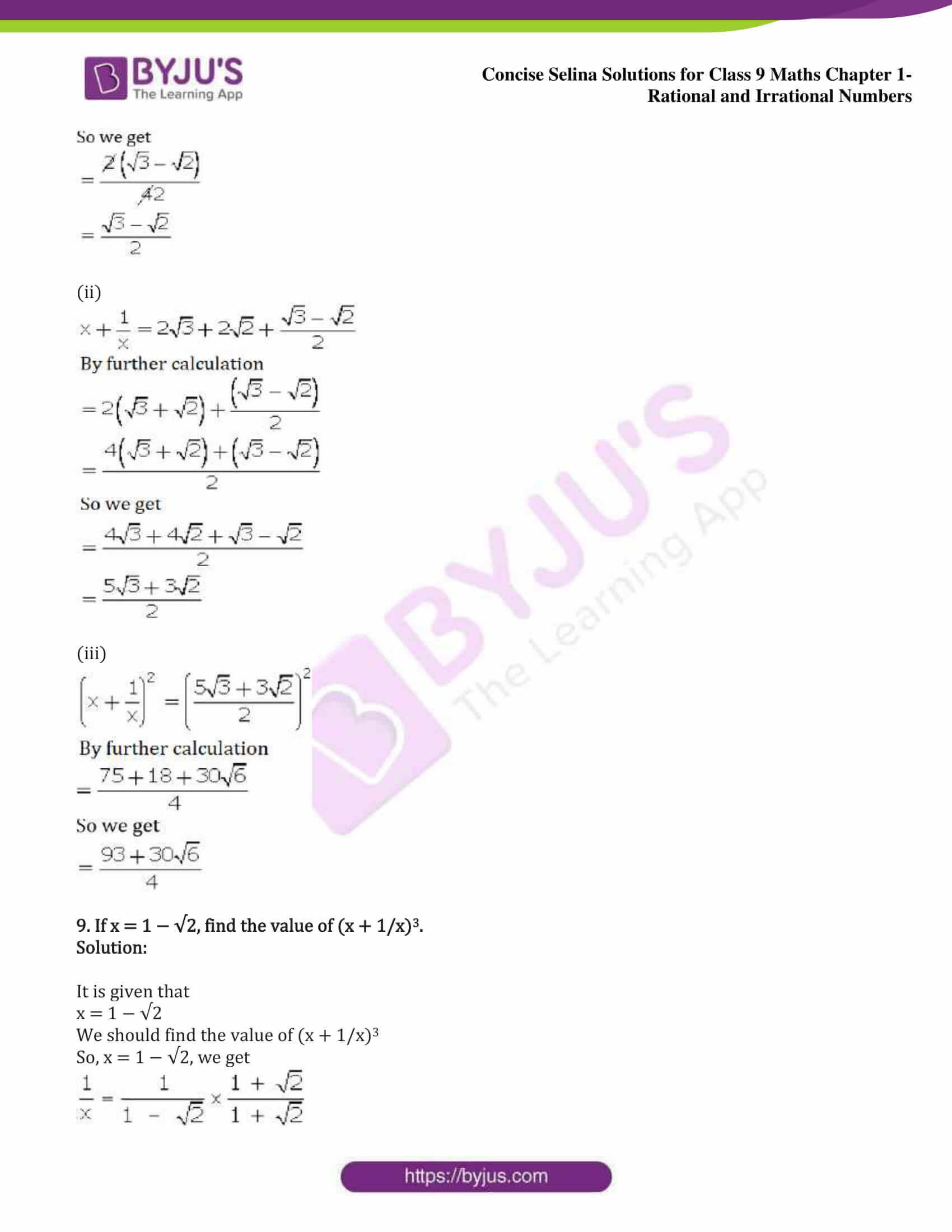 icse class 9 maths may13 selina solutions chapter 1 rational and irrational numbers 26