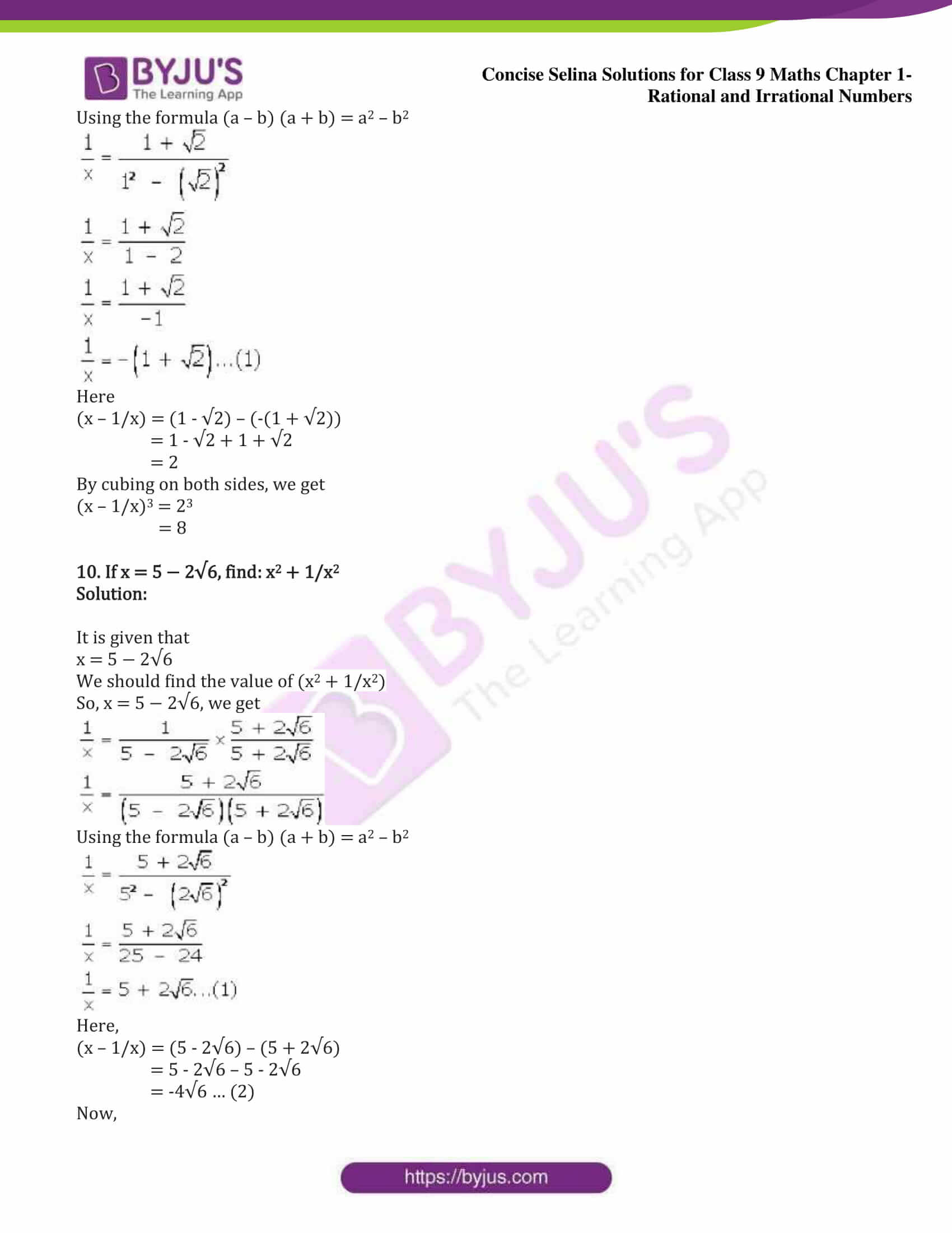icse class 9 maths may13 selina solutions chapter 1 rational and irrational numbers 27