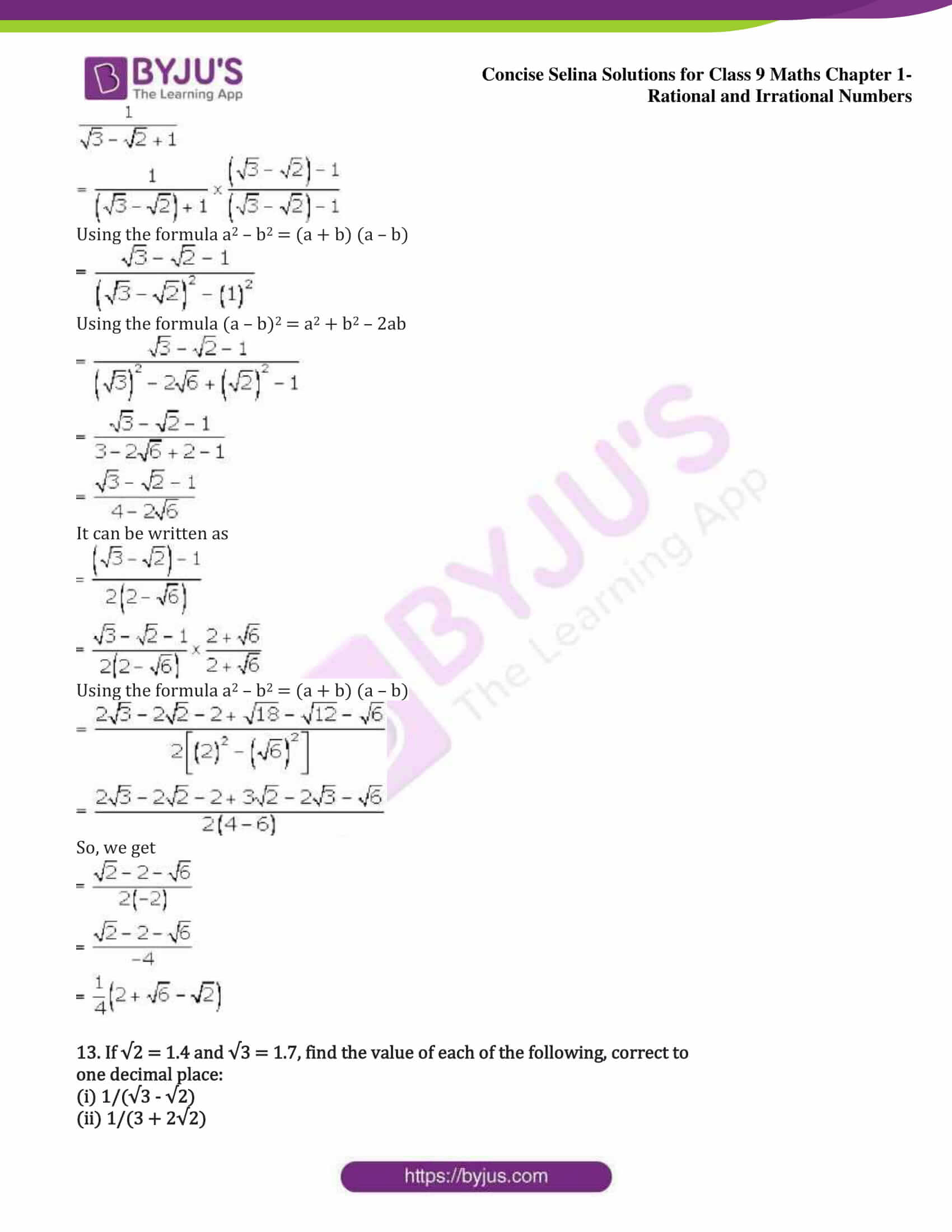 icse class 9 maths may13 selina solutions chapter 1 rational and irrational numbers 29