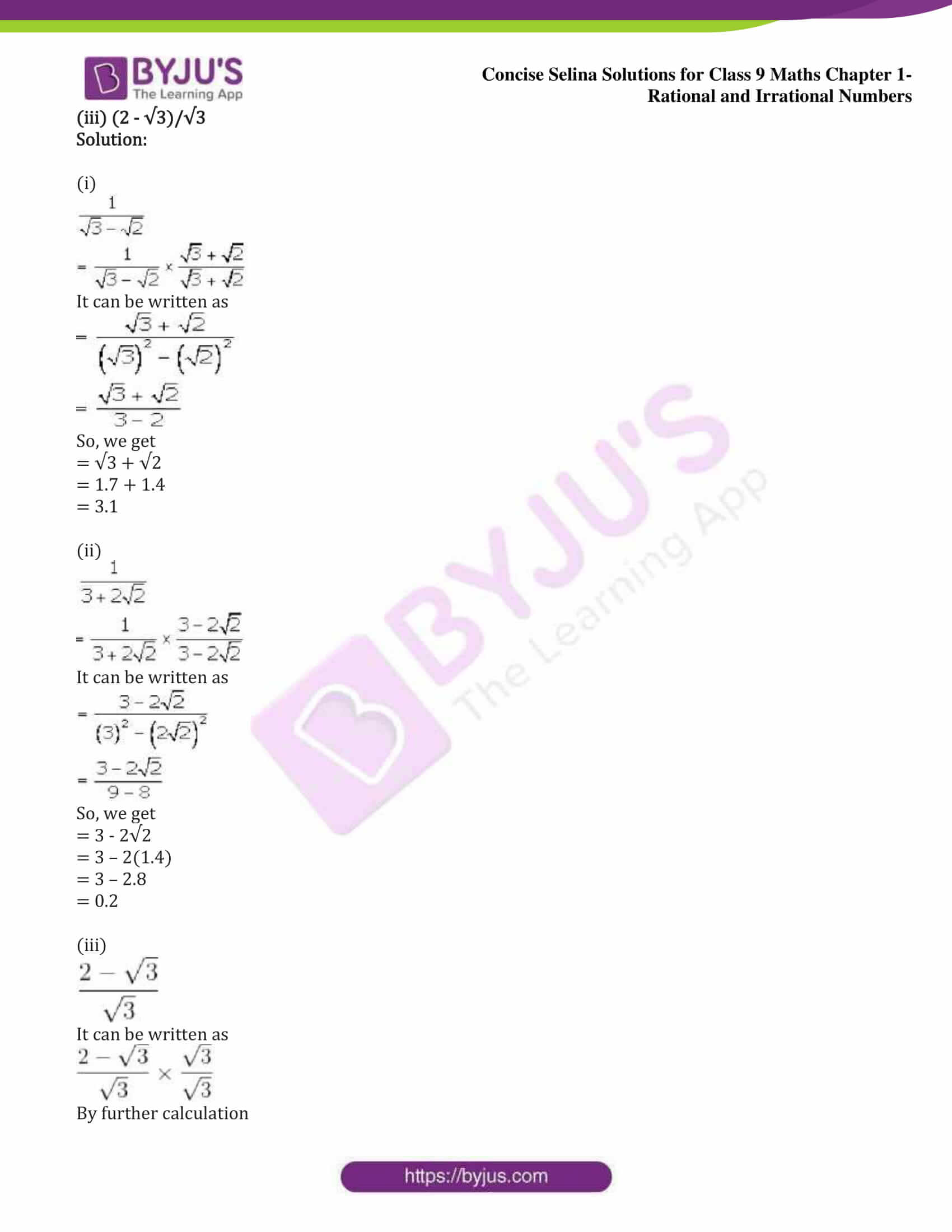 icse class 9 maths may13 selina solutions chapter 1 rational and irrational numbers 30