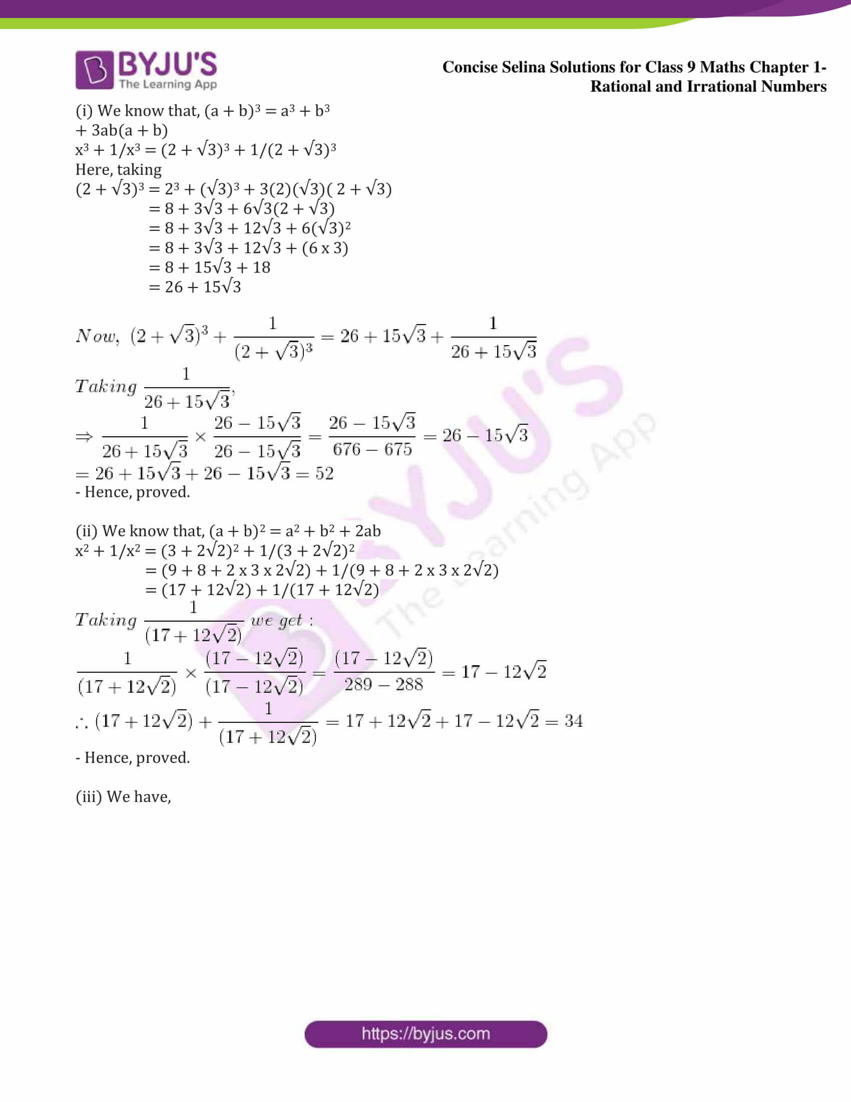 icse class 9 maths may13 selina solutions chapter 1 rational and irrational numbers 40